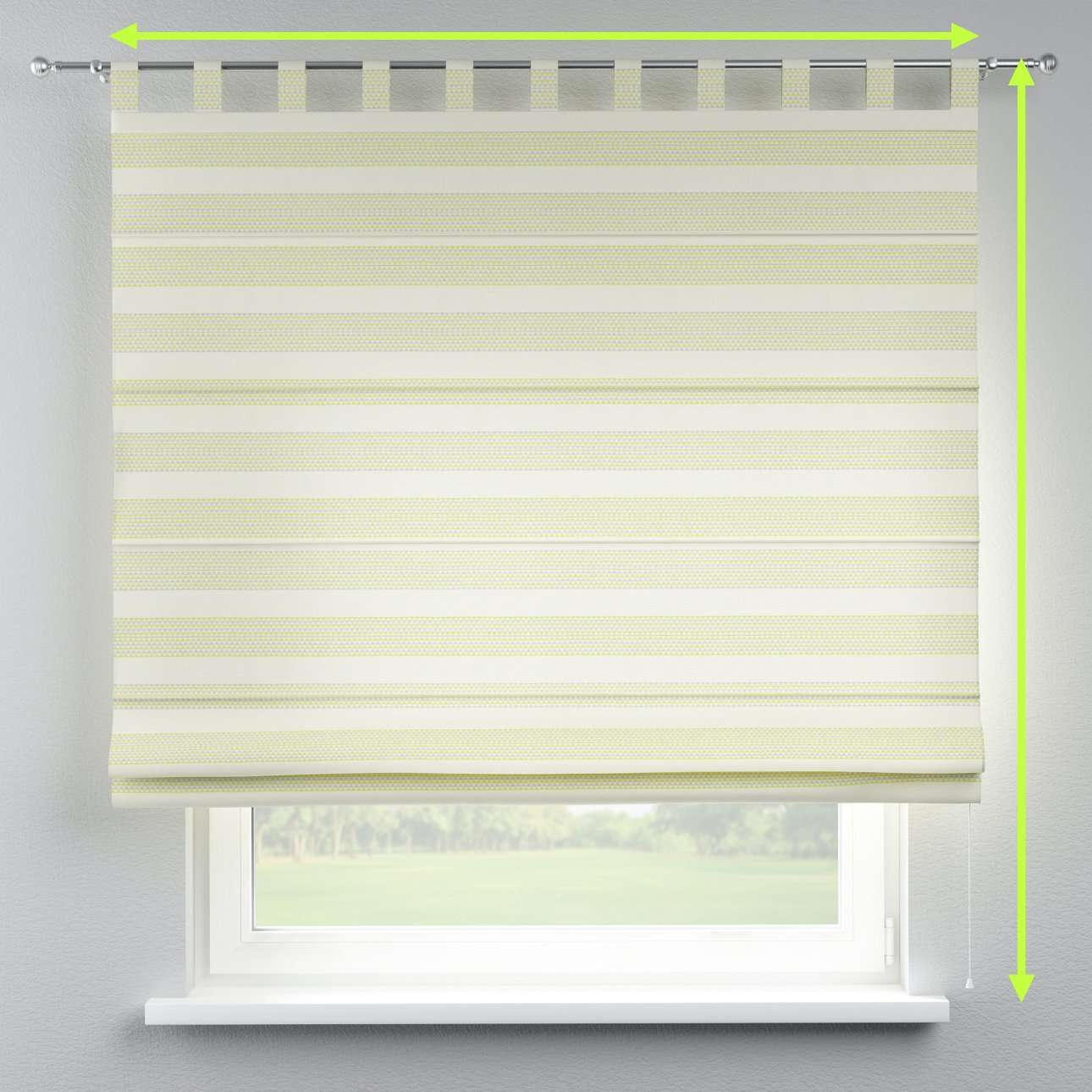 Verona tab top roman blind in collection Rustica, fabric: 140-35