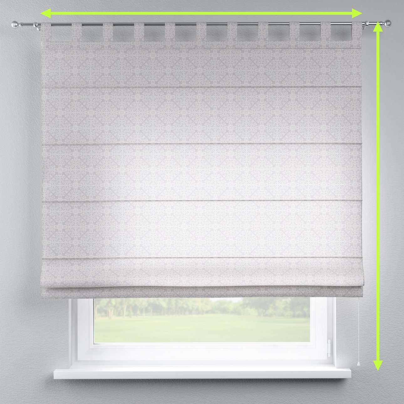 Verona tab top roman blind in collection Flowers, fabric: 140-38