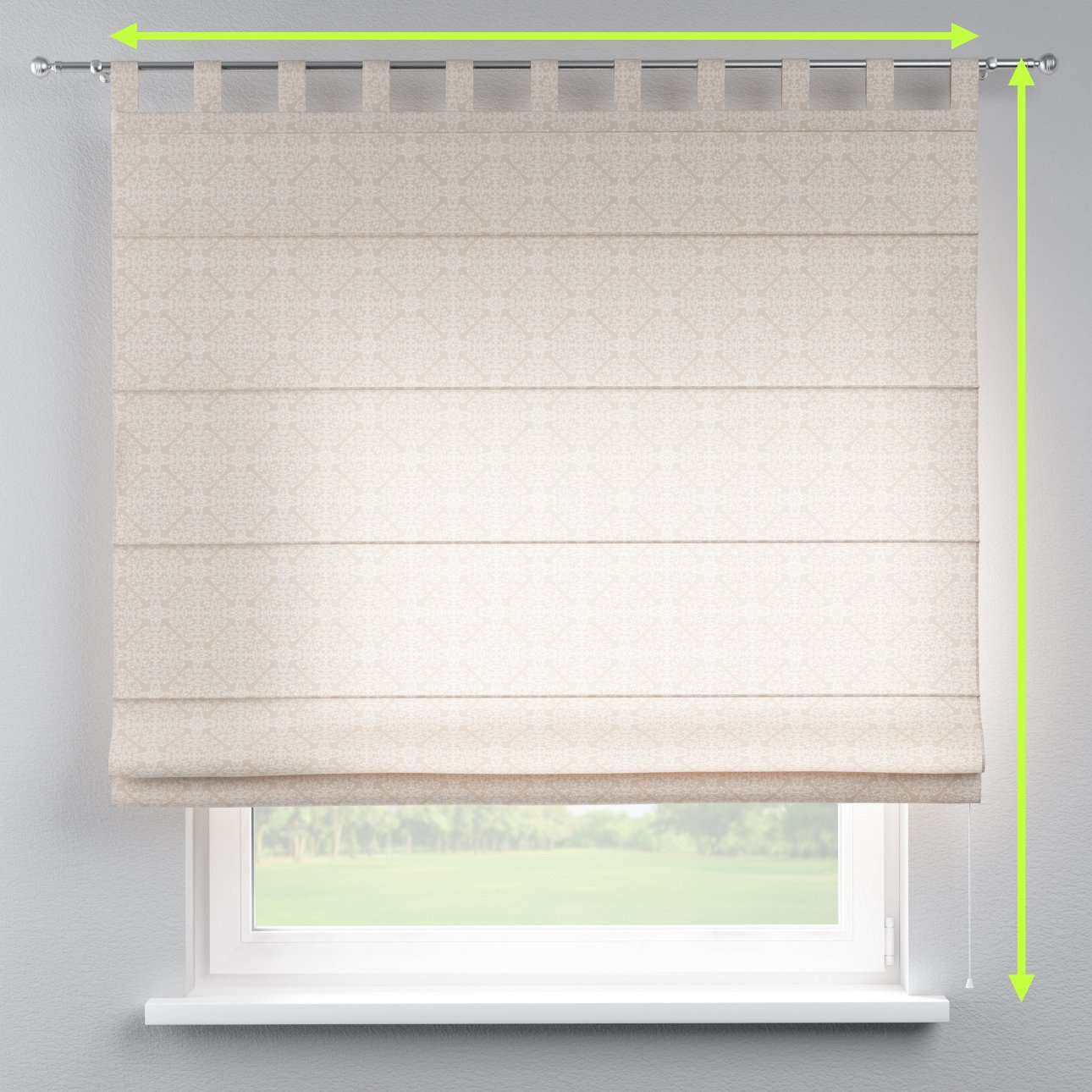Verona tab top roman blind in collection Flowers, fabric: 140-39