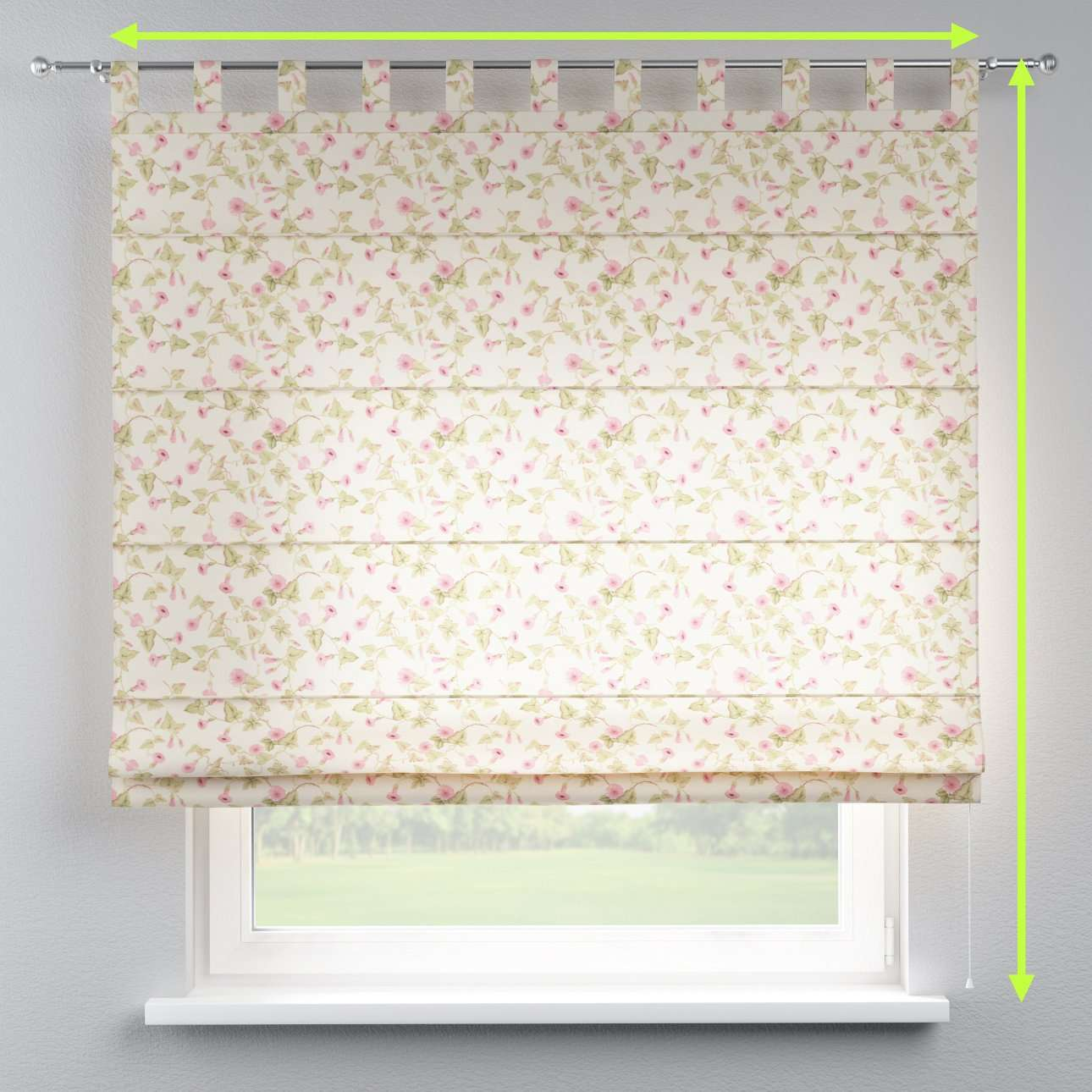 Verona tab top roman blind in collection Mirella, fabric: 140-41