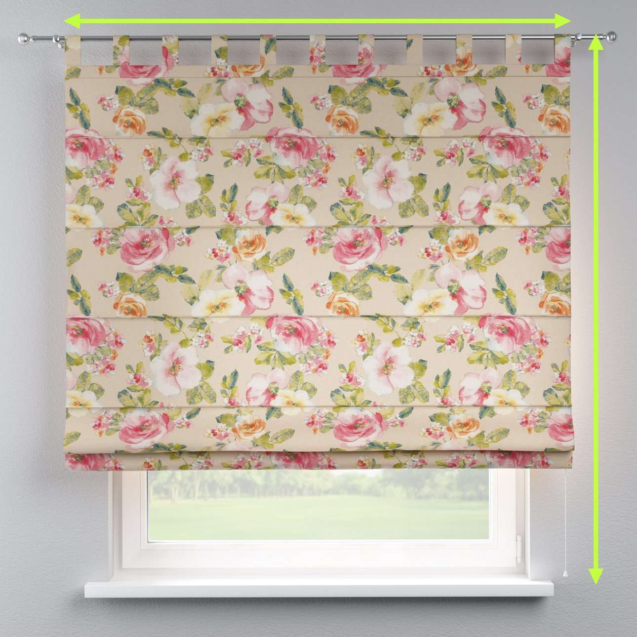 Verona tab top roman blind in collection Londres, fabric: 140-43