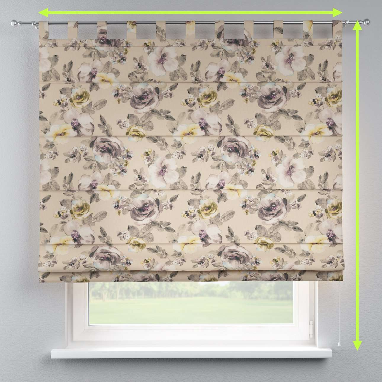 Verona tab top roman blind in collection Londres, fabric: 140-44