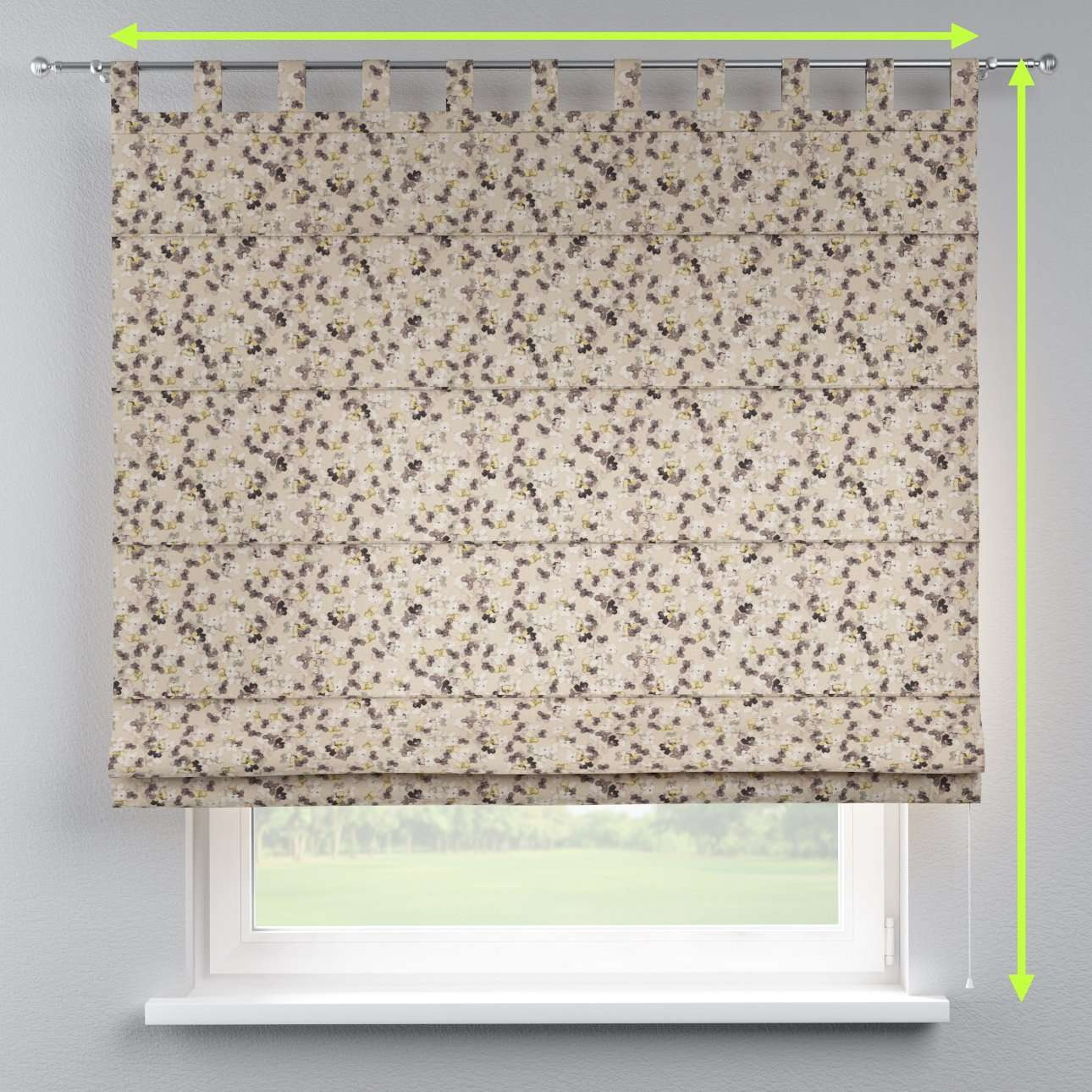 Verona tab top roman blind in collection Londres, fabric: 140-48