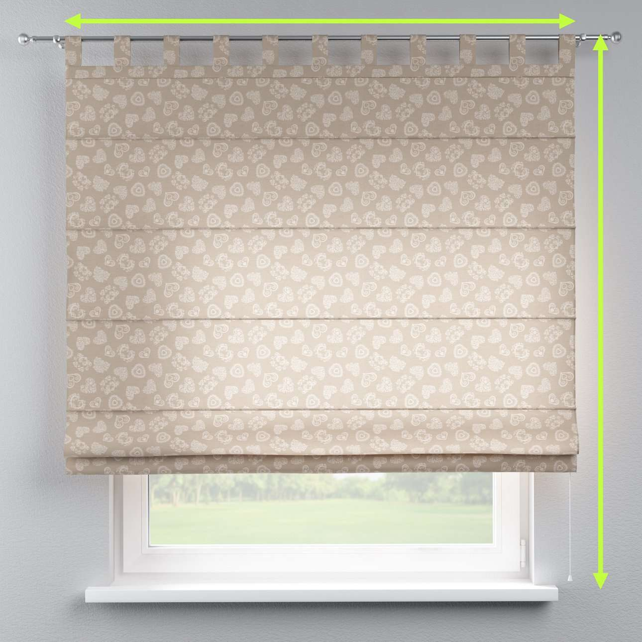 Verona tab top roman blind in collection Flowers, fabric: 140-56