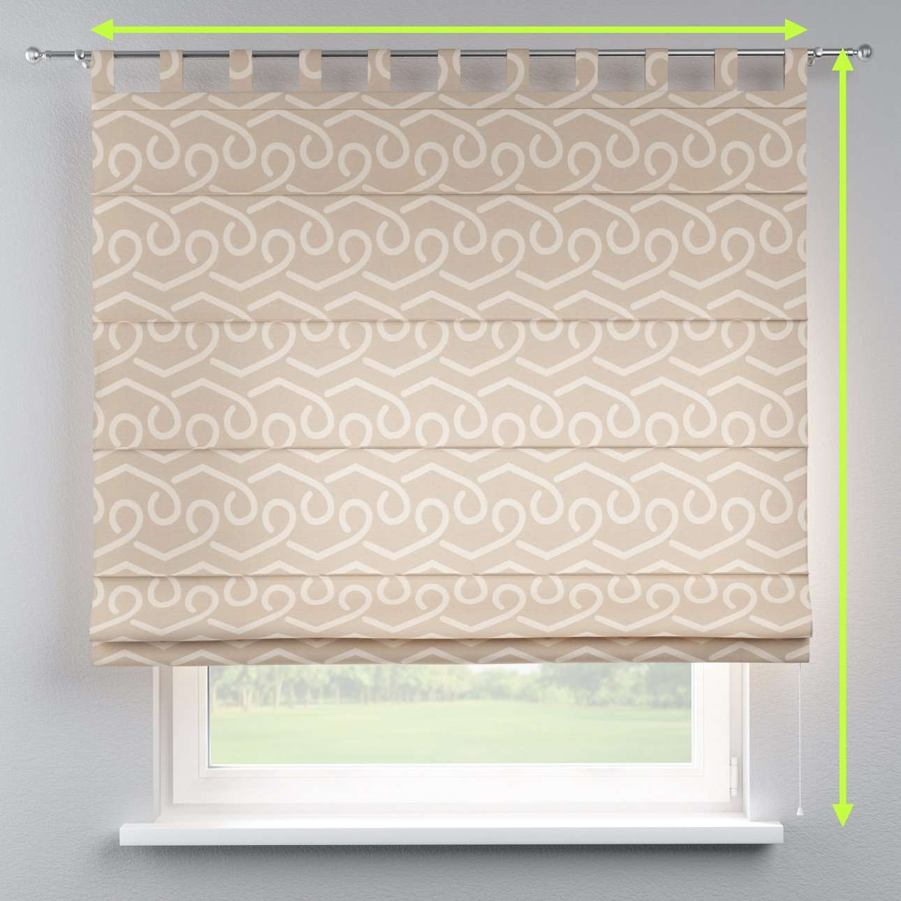 Verona tab top roman blind in collection Rustica, fabric: 140-58