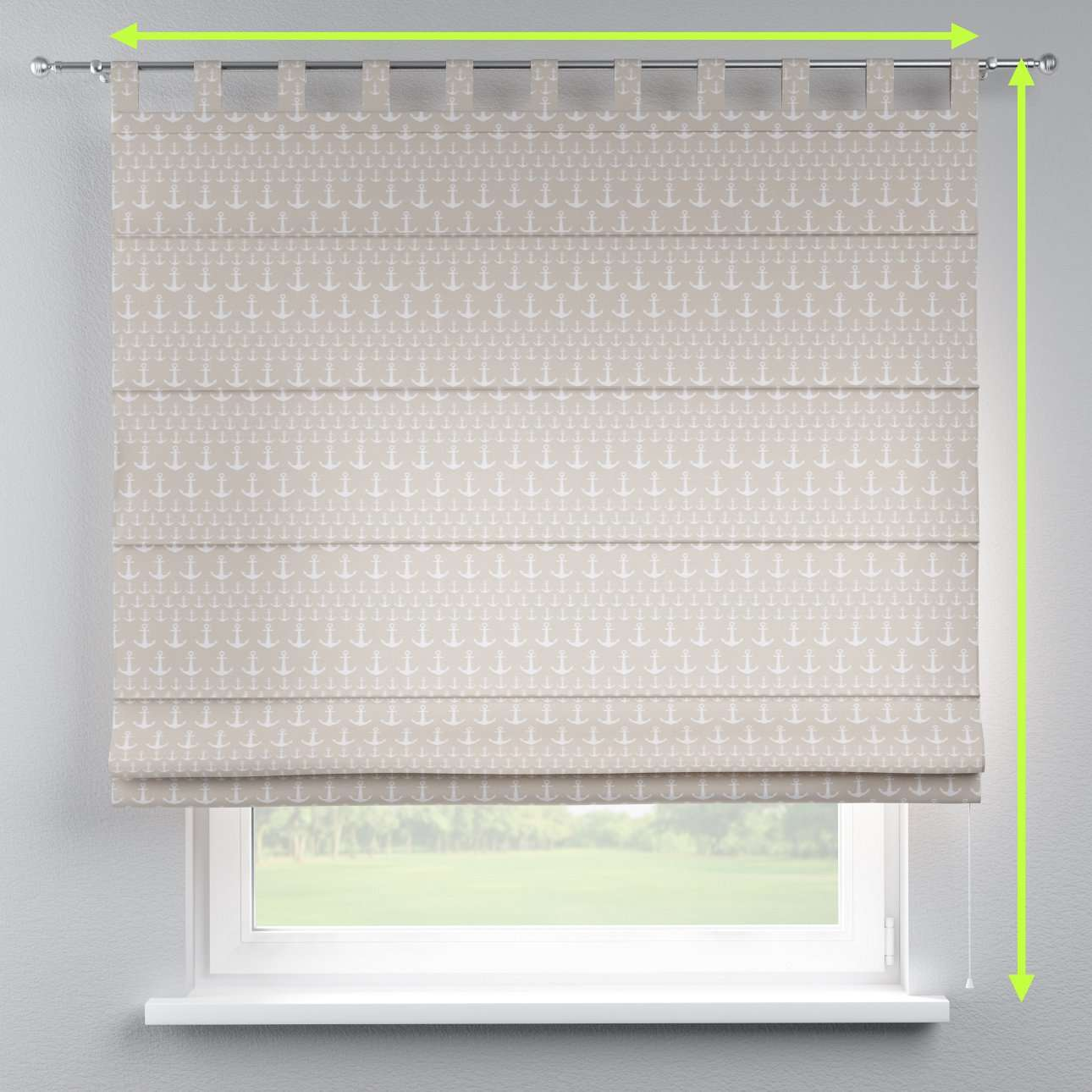 Verona tab top roman blind in collection Marina, fabric: 140-63