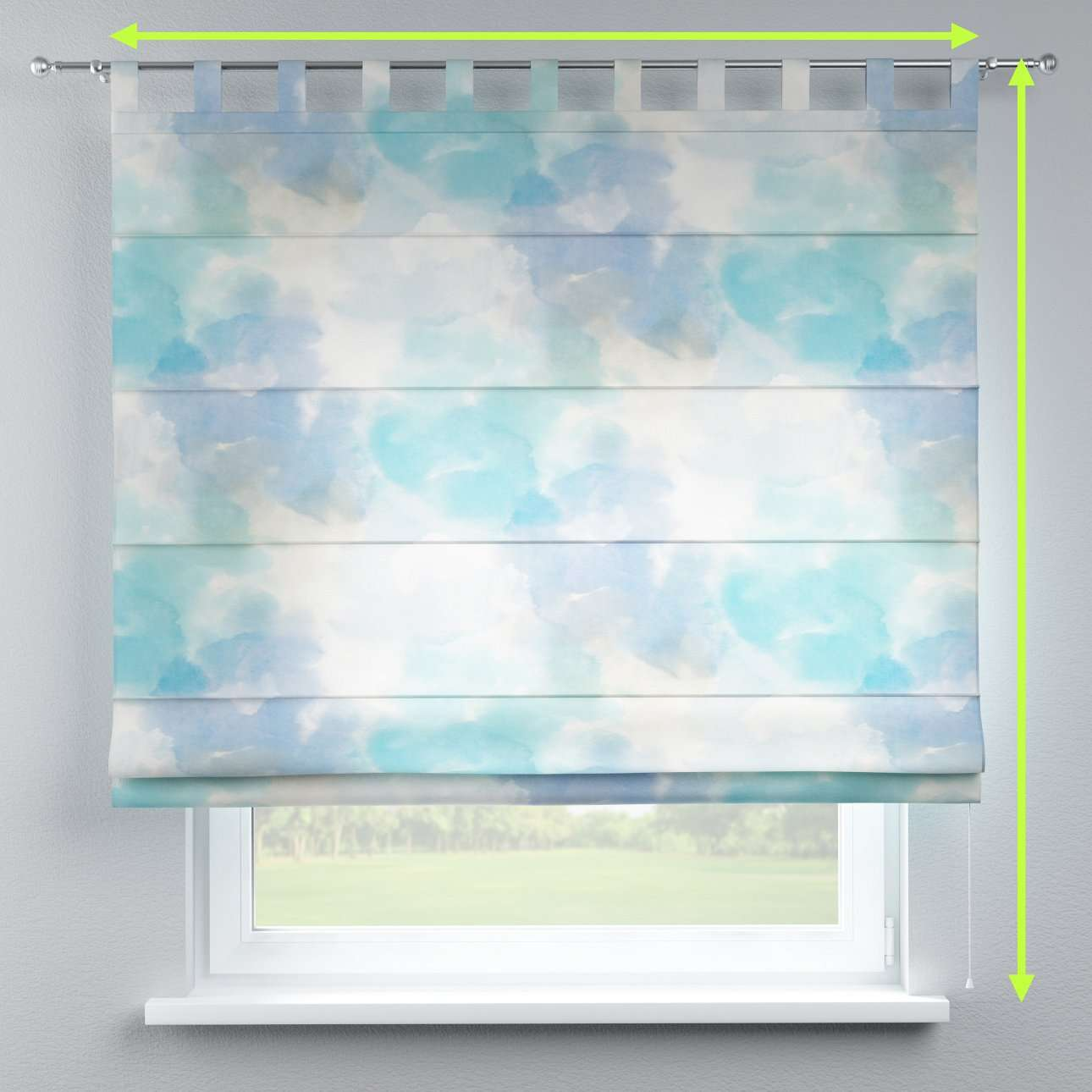 Verona tab top roman blind in collection Aquarelle, fabric: 140-67