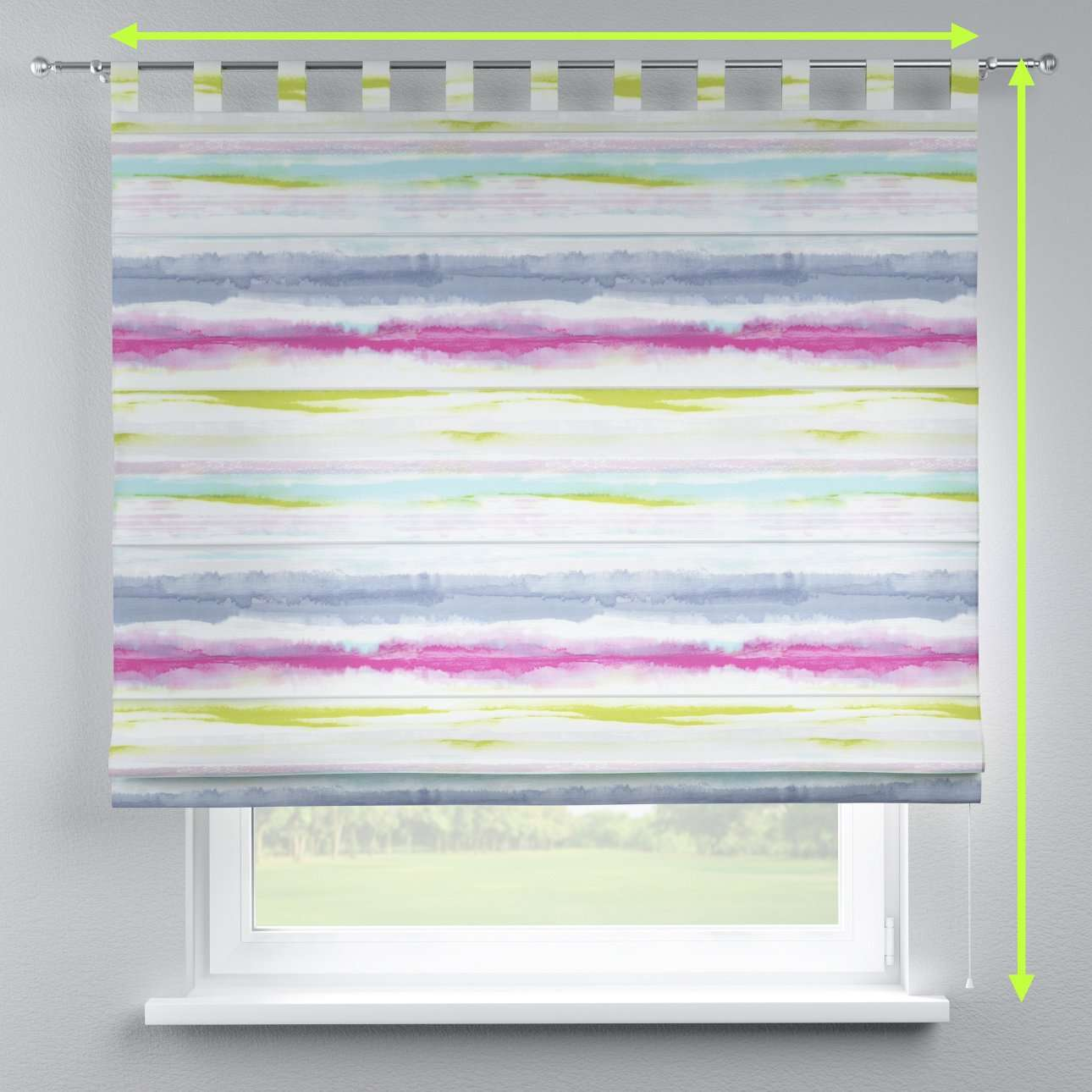 Verona tab top roman blind in collection Aquarelle, fabric: 140-69