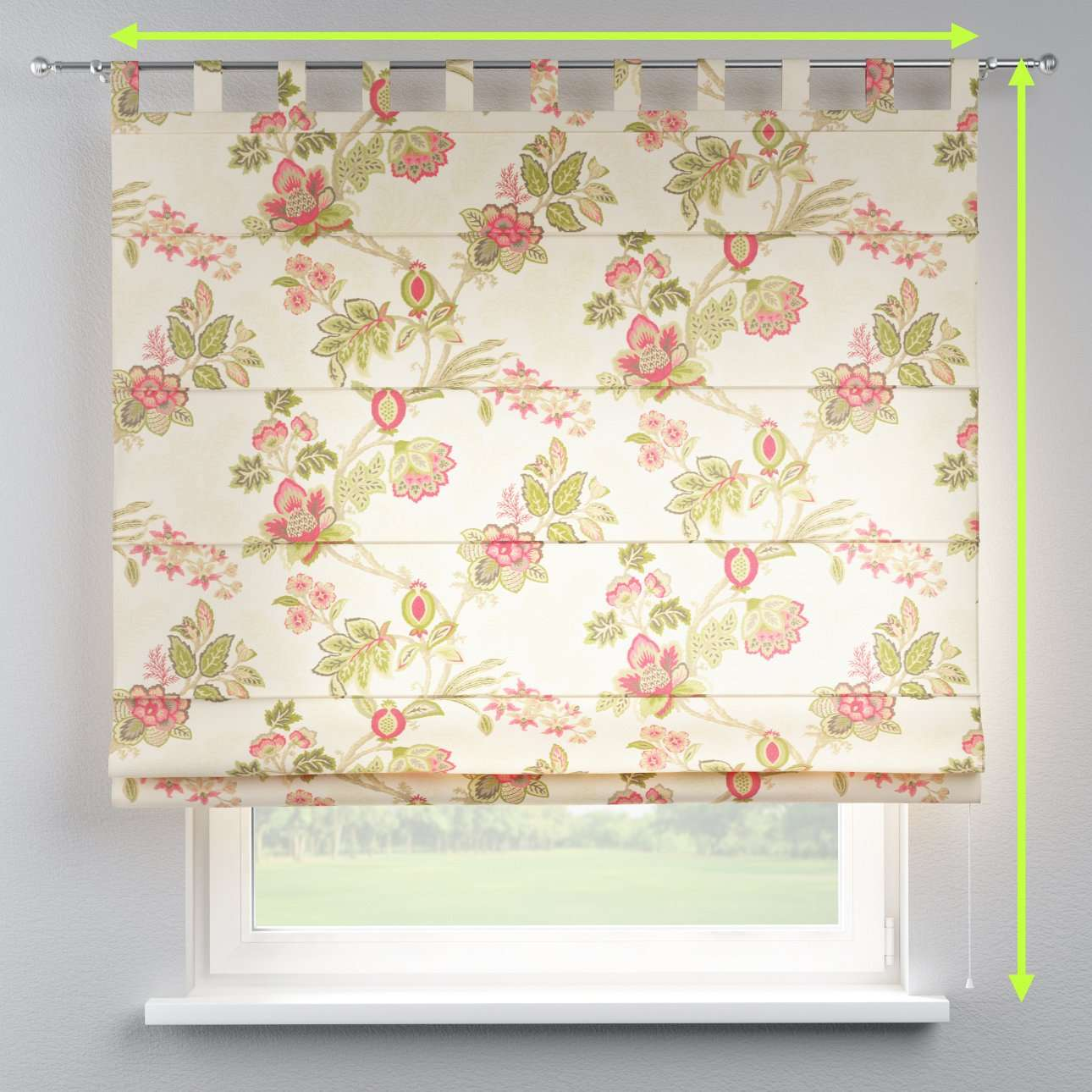 Verona tab top roman blind in collection Flowers, fabric: 140-98