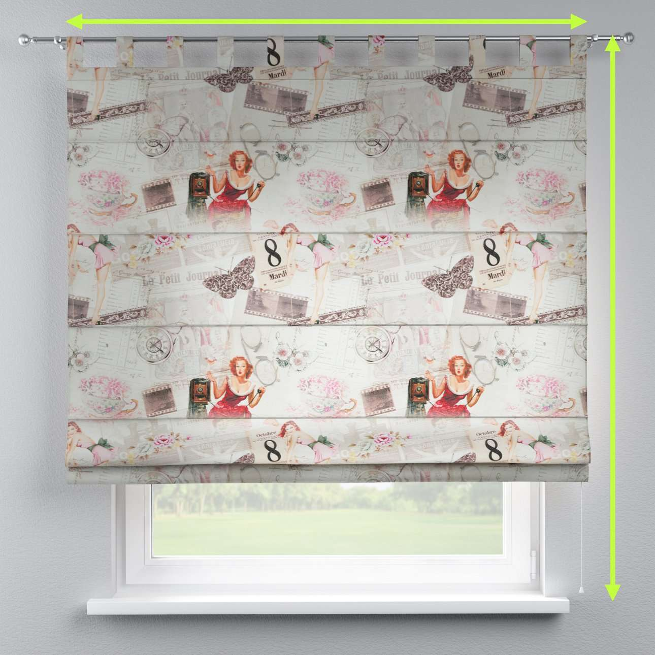 Verona tab top roman blind in collection Freestyle, fabric: 140-99