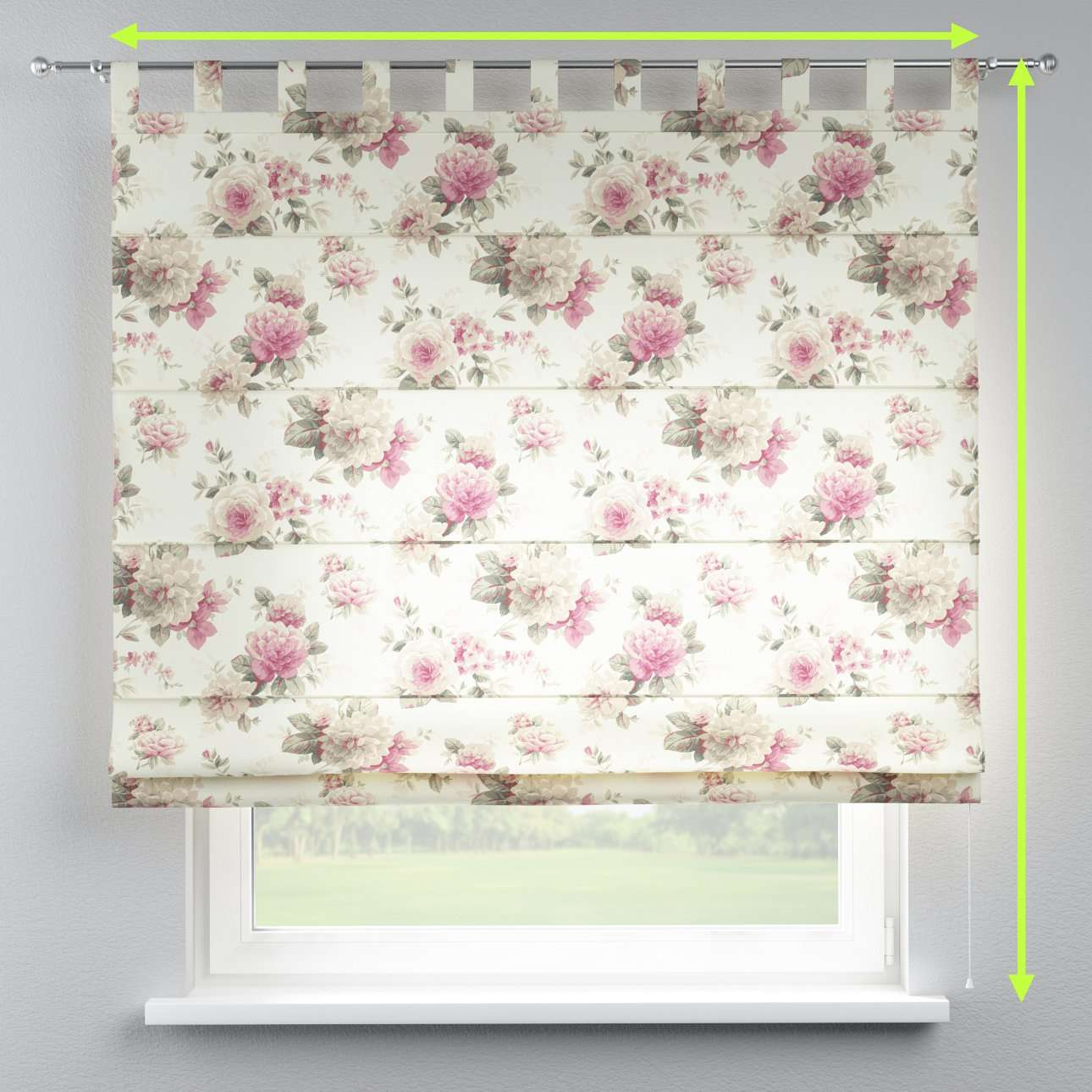 Verona tab top roman blind in collection Mirella, fabric: 141-07