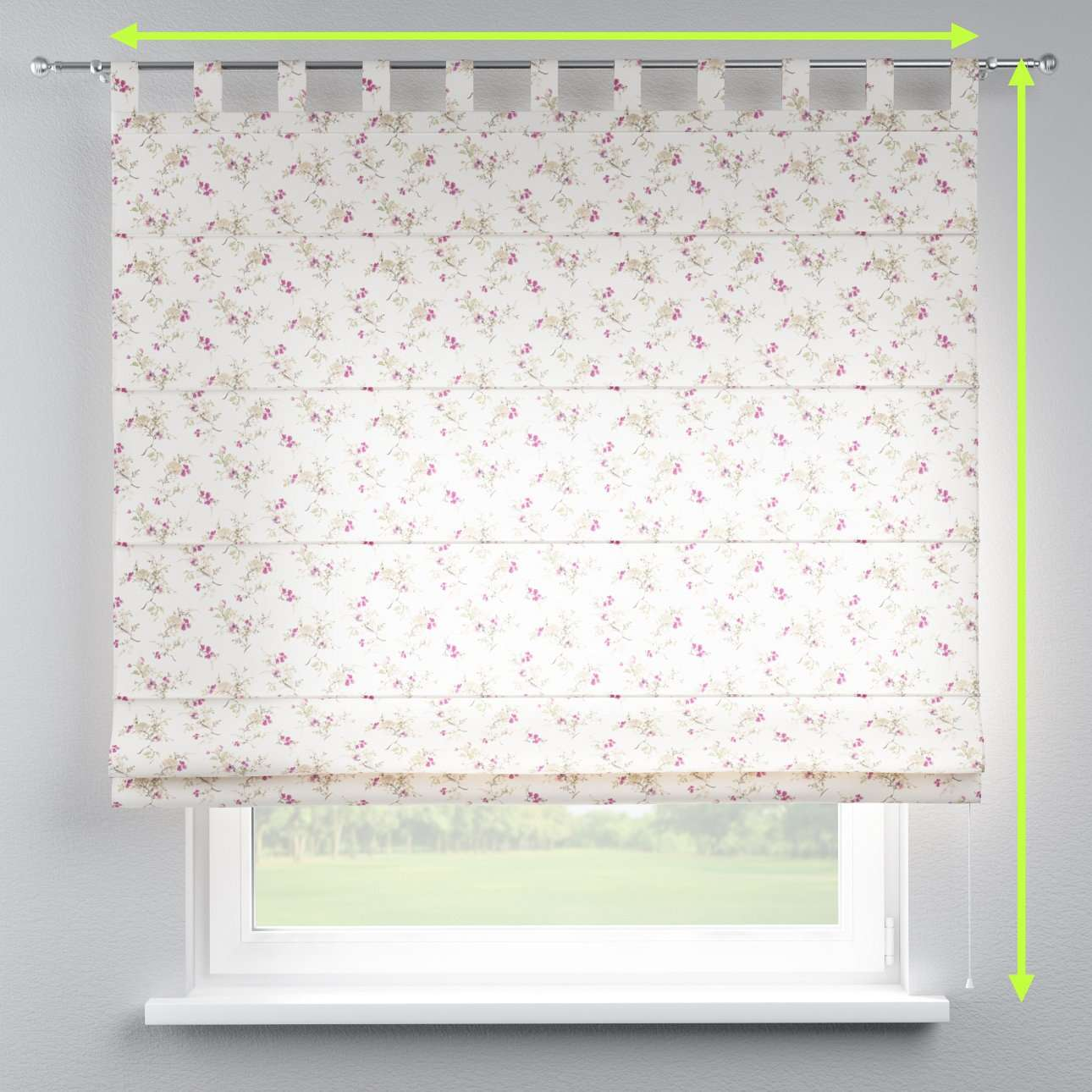 Verona tab top roman blind in collection Mirella, fabric: 141-13