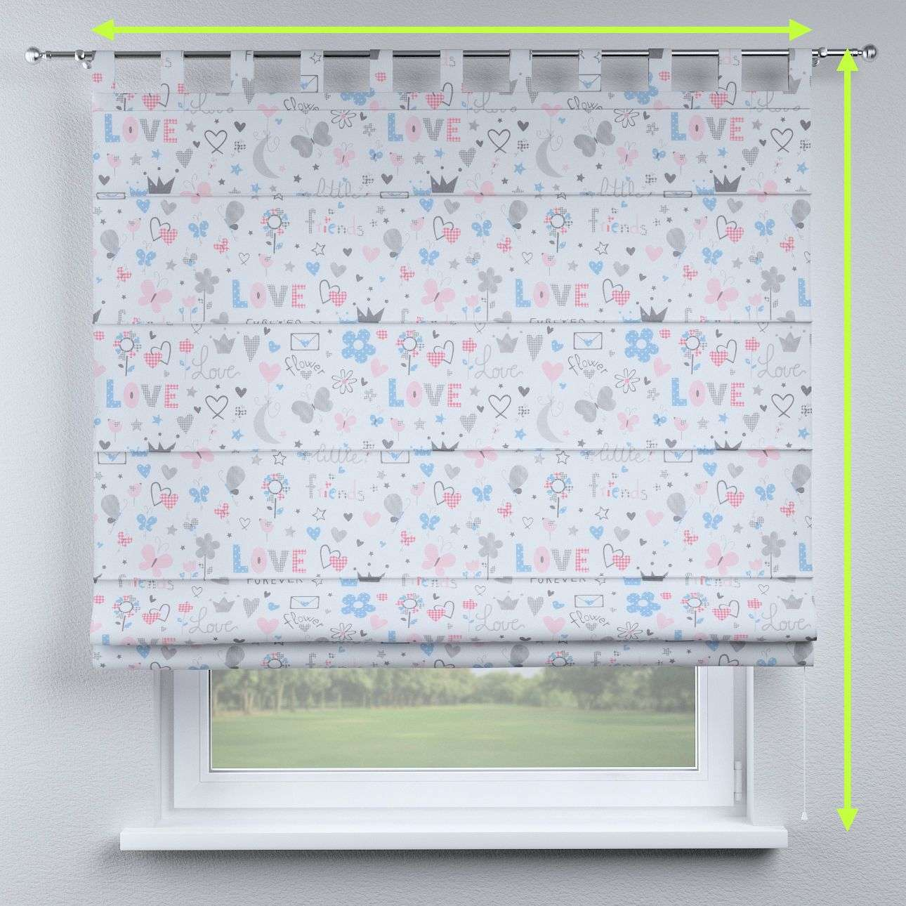 Verona tab top roman blind in collection Little World, fabric: 141-27