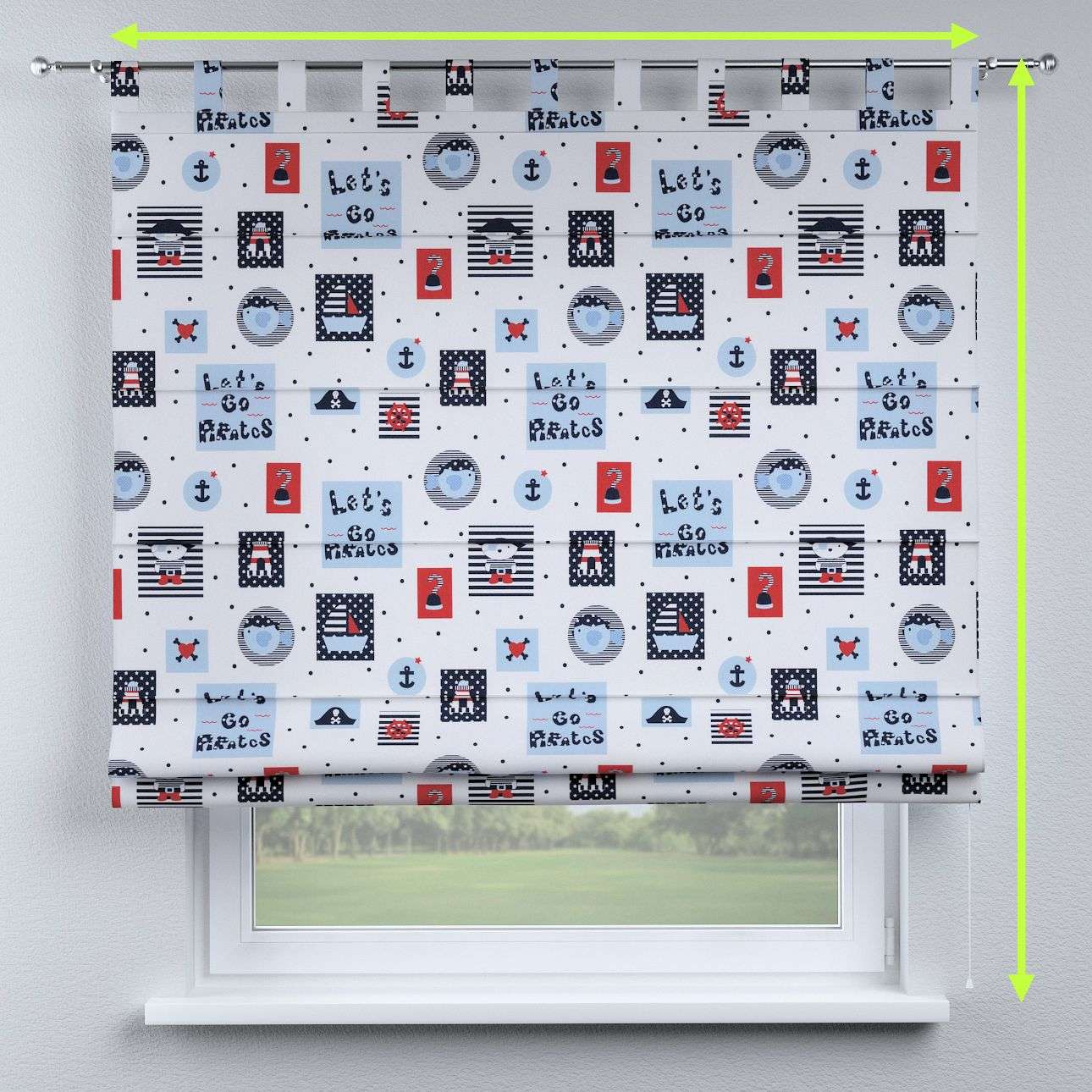 Verona tab top roman blind in collection Little World, fabric: 141-29