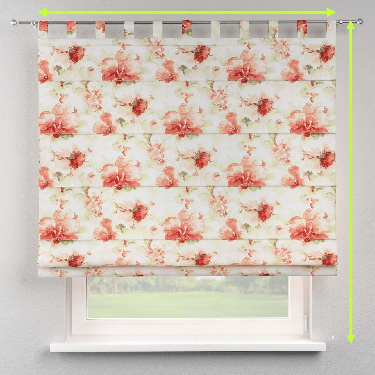 Verona tab top roman blind in collection Acapulco, fabric: 141-34