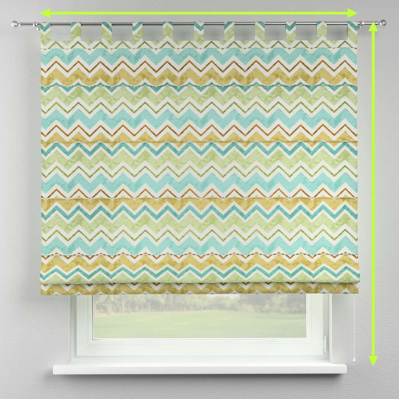 Verona tab top roman blind in collection Acapulco, fabric: 141-41