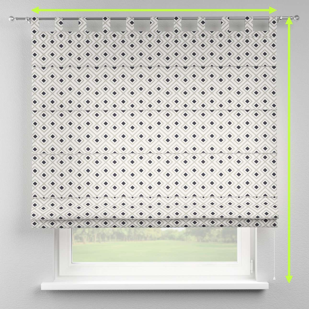 Verona tab top roman blind in collection Geometric, fabric: 141-44