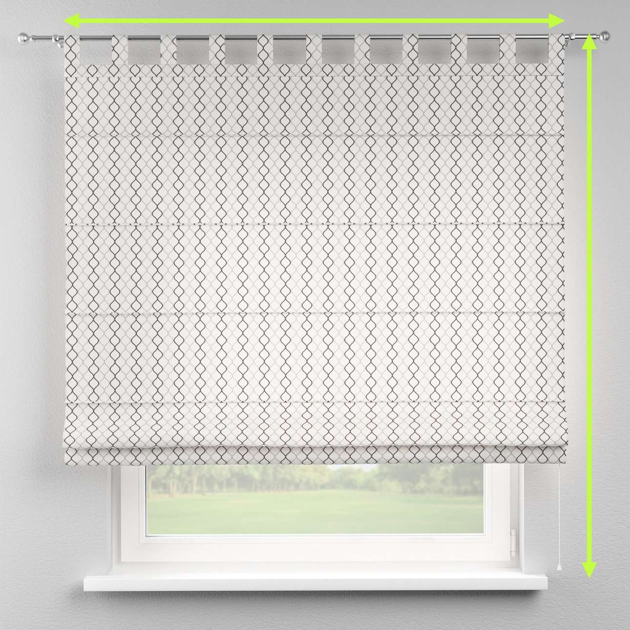 Verona tab top roman blind in collection Geometric, fabric: 141-46