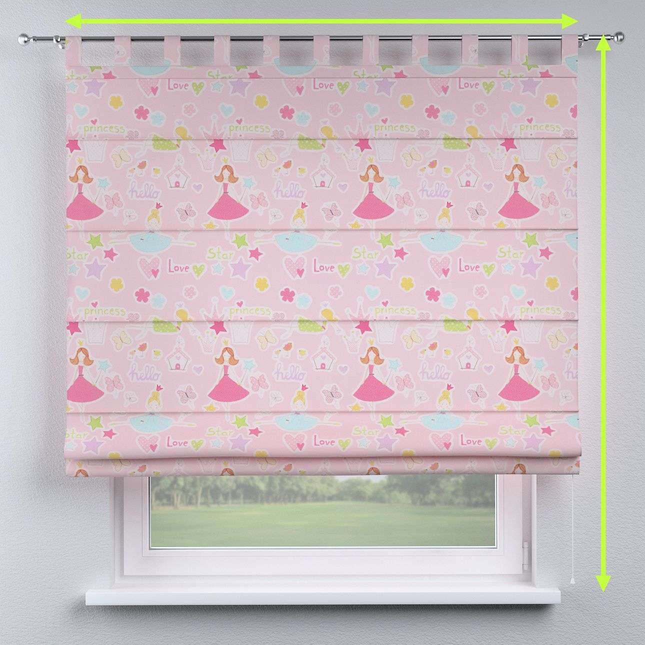 Verona tab top roman blind in collection Little World, fabric: 141-50