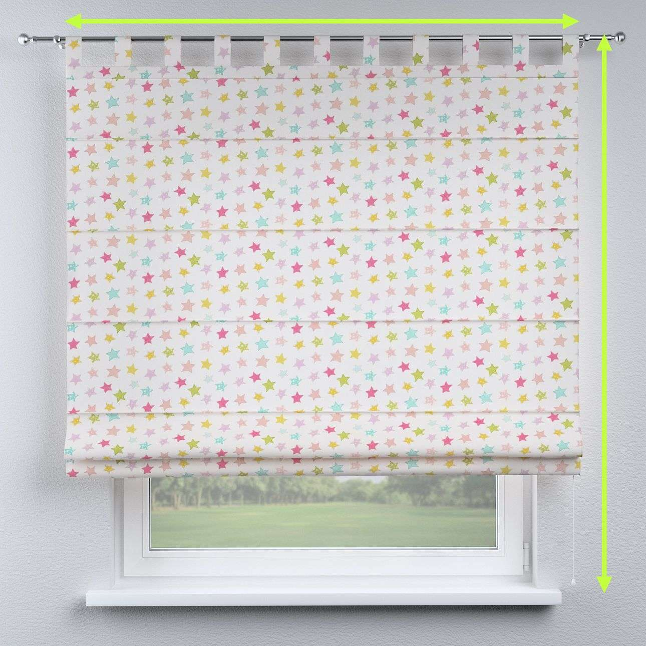 Verona tab top roman blind in collection Little World, fabric: 141-52