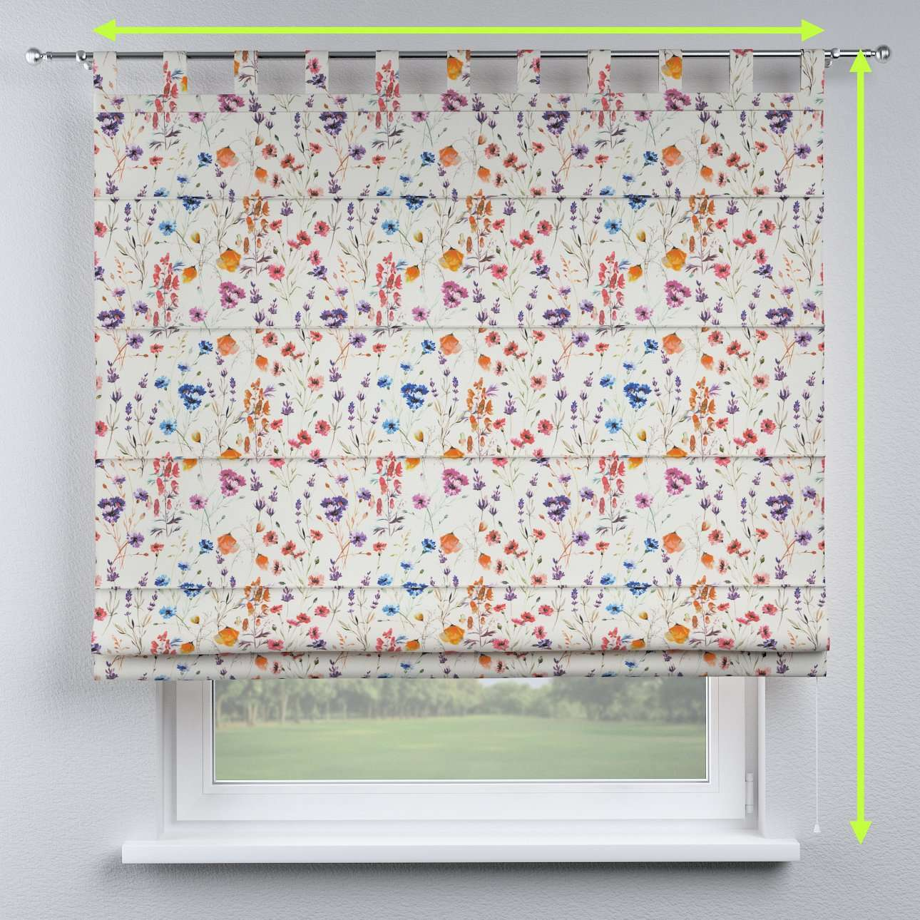 Verona tab top roman blind in collection Flowers, fabric: 141-53