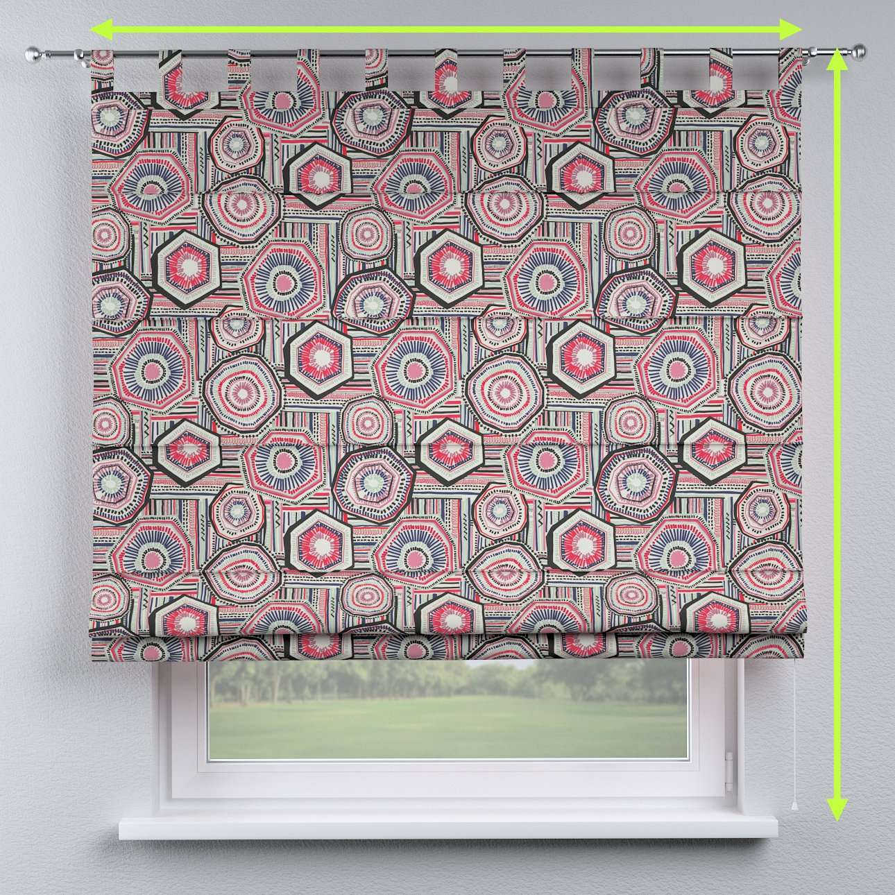 Verona tab top roman blind in collection New Art, fabric: 141-54