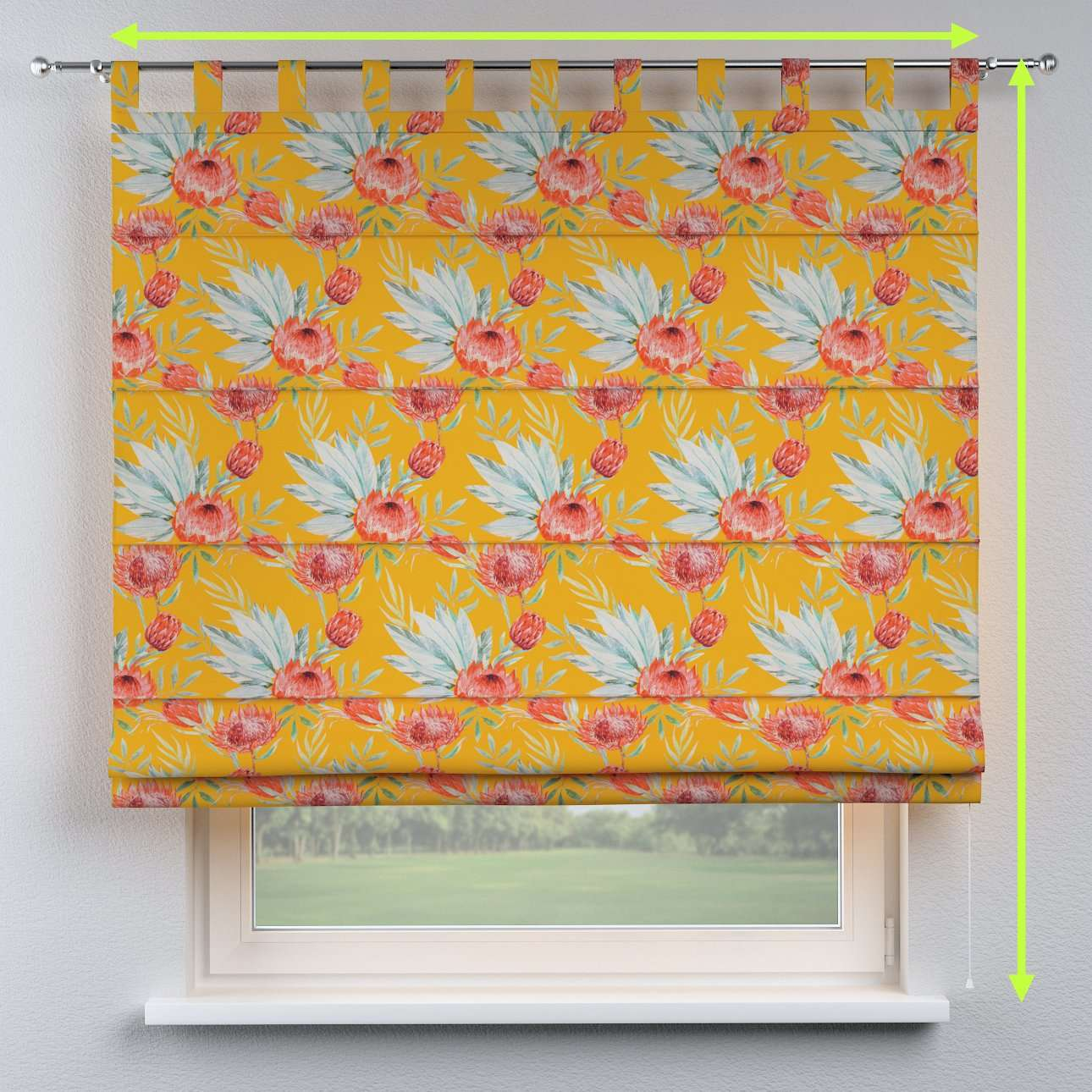 Verona tab top roman blind in collection New Art, fabric: 141-58