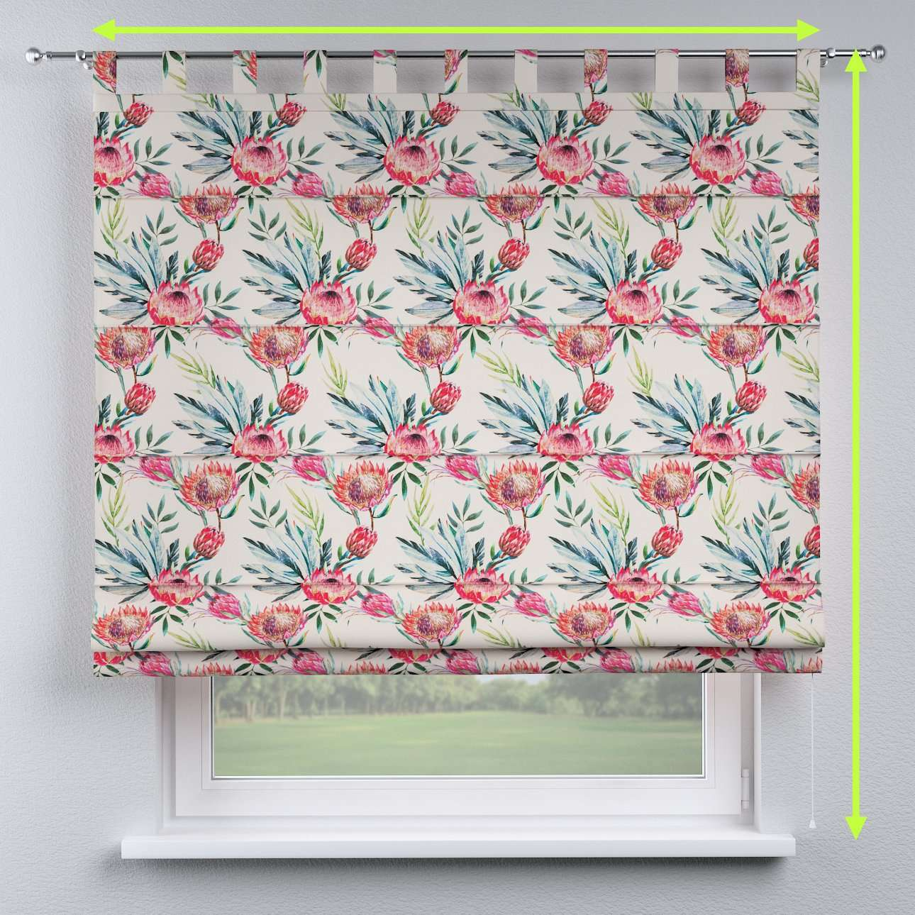Verona tab top roman blind in collection New Art, fabric: 141-59