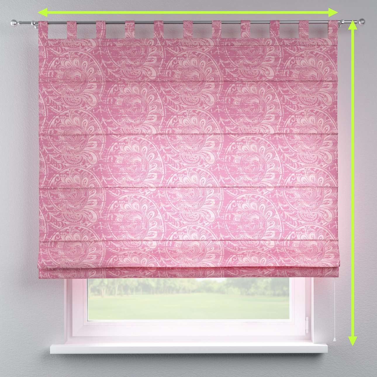 Verona tab top roman blind in collection Mirella, fabric: 143-07
