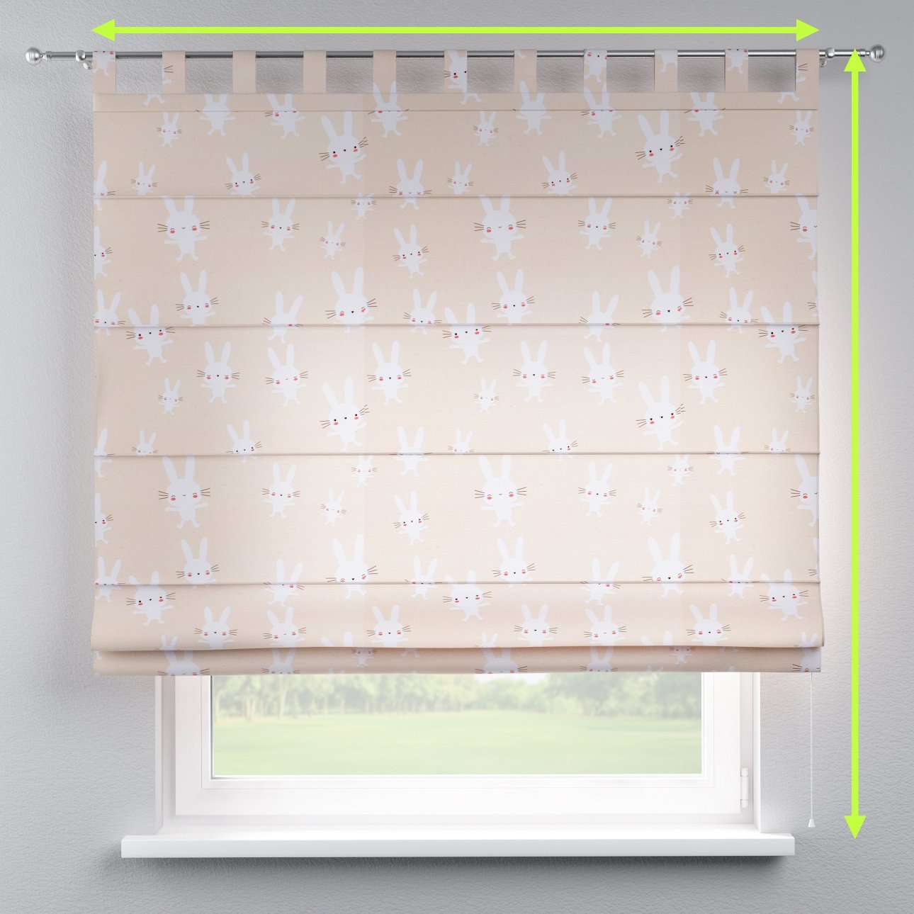 Verona tab top roman blind in collection Apanona, fabric: 151-00
