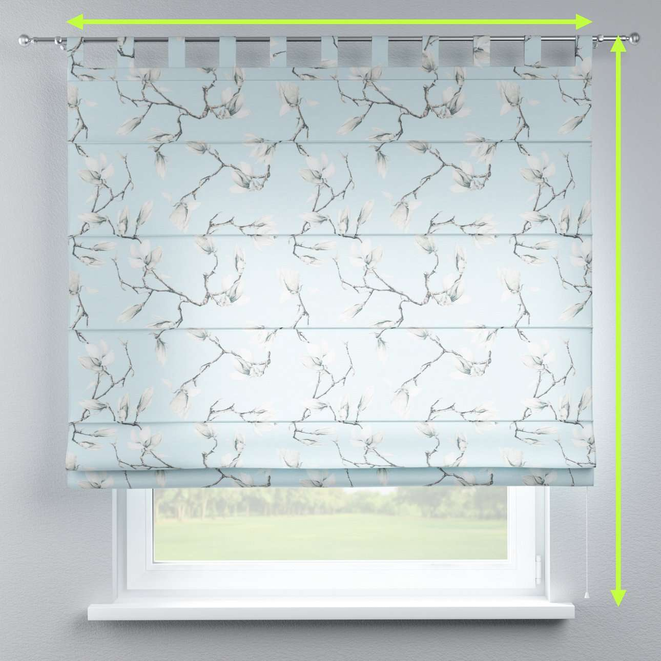 Verona tab top roman blind in collection Flowers, fabric: 311-14