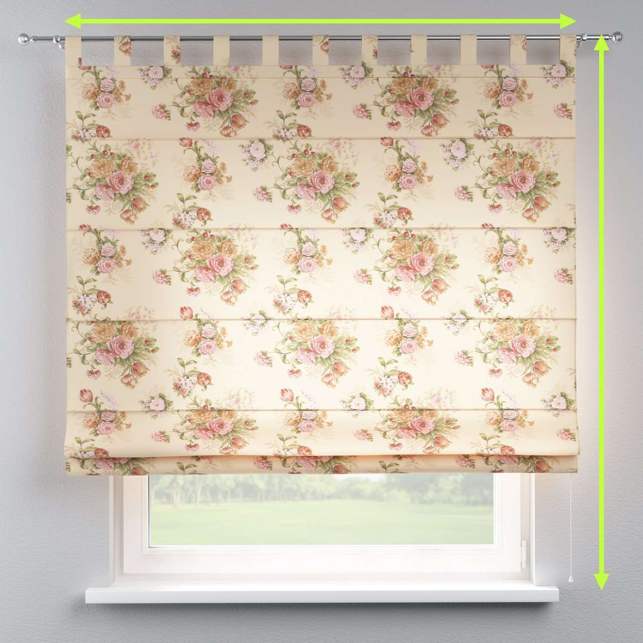 Verona tab top roman blind in collection Flowers, fabric: 302-01