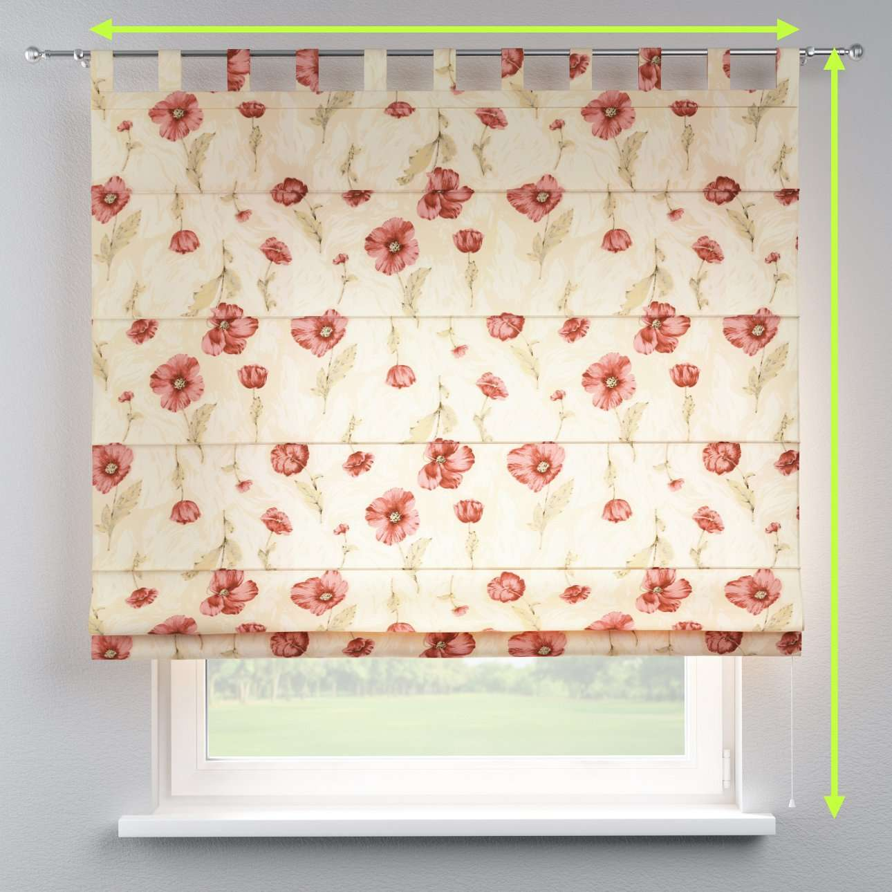 Verona tab top roman blind in collection Flowers, fabric: 303-01