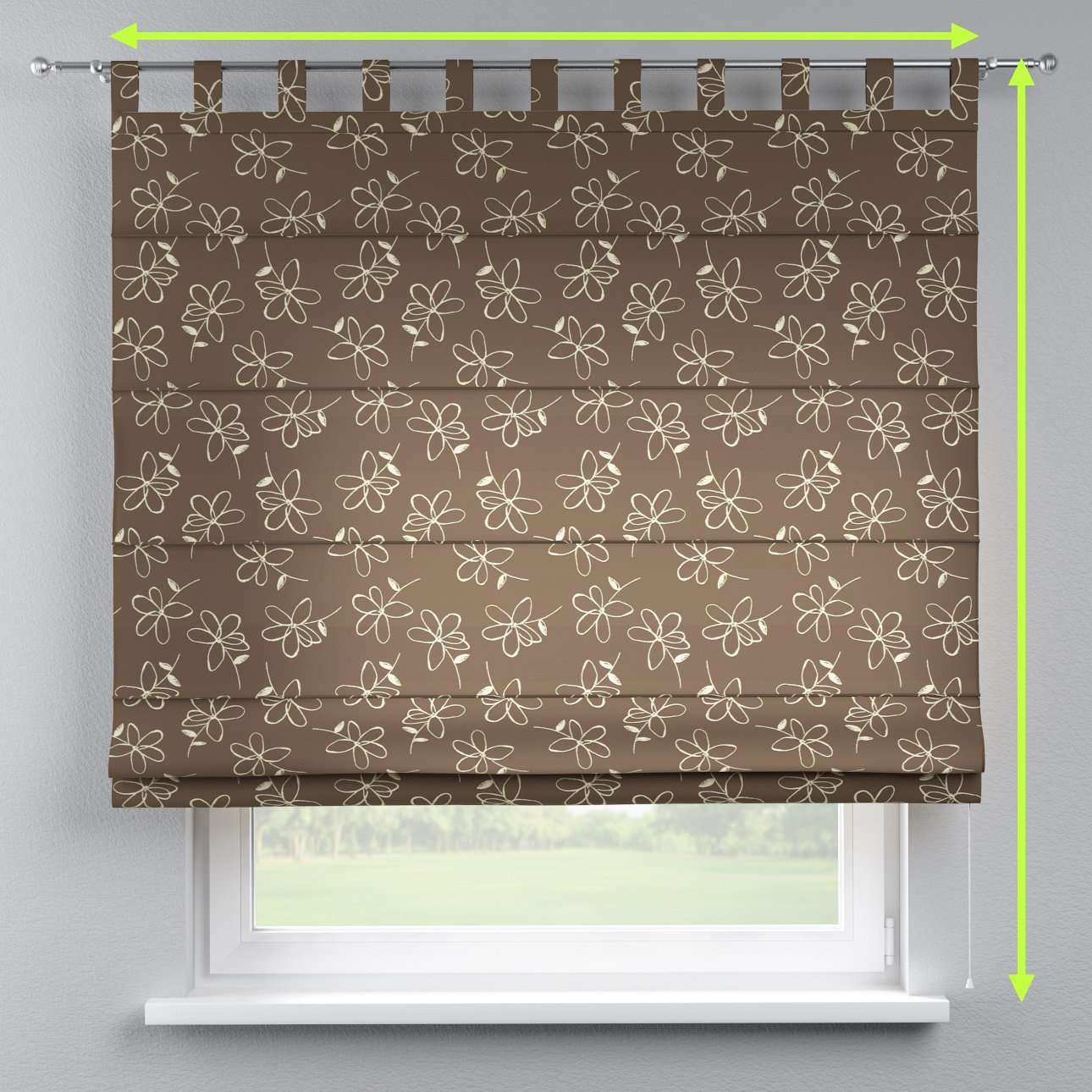 Verona tab top roman blind in collection Flowers, fabric: 311-03