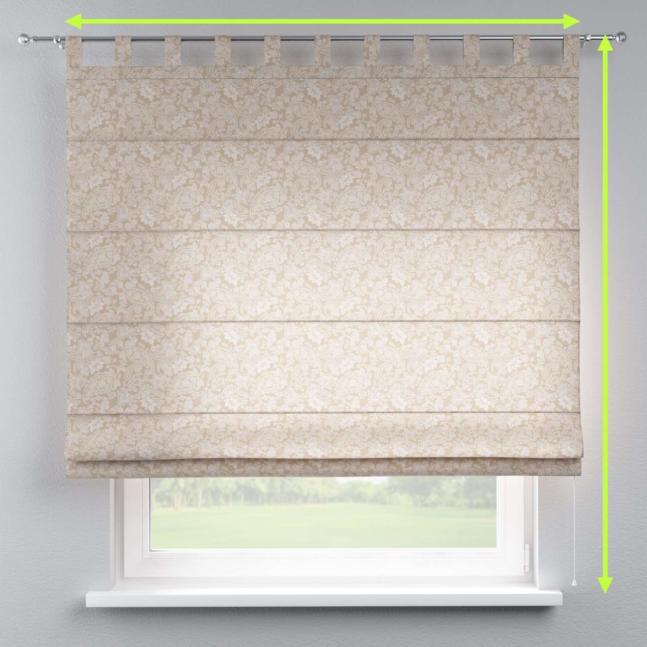 Verona tab top roman blind in collection Flowers, fabric: 311-08