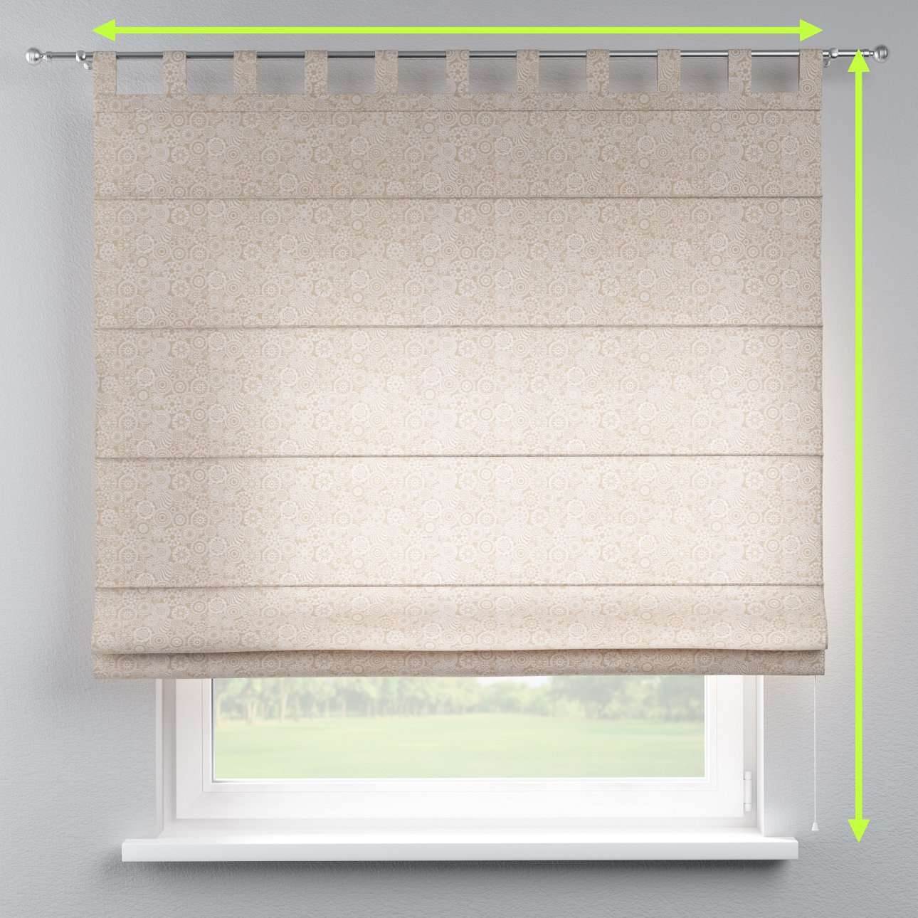 Verona tab top roman blind in collection Flowers, fabric: 311-09