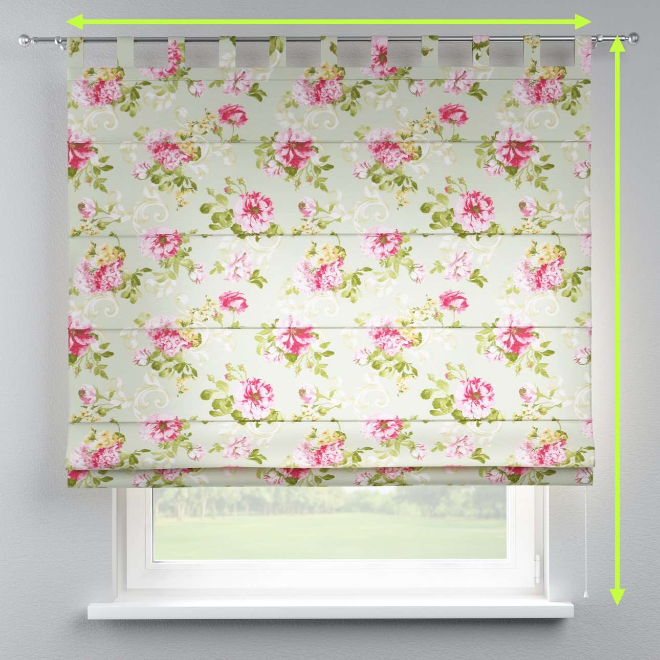 Verona tab top roman blind in collection Flowers, fabric: 311-10