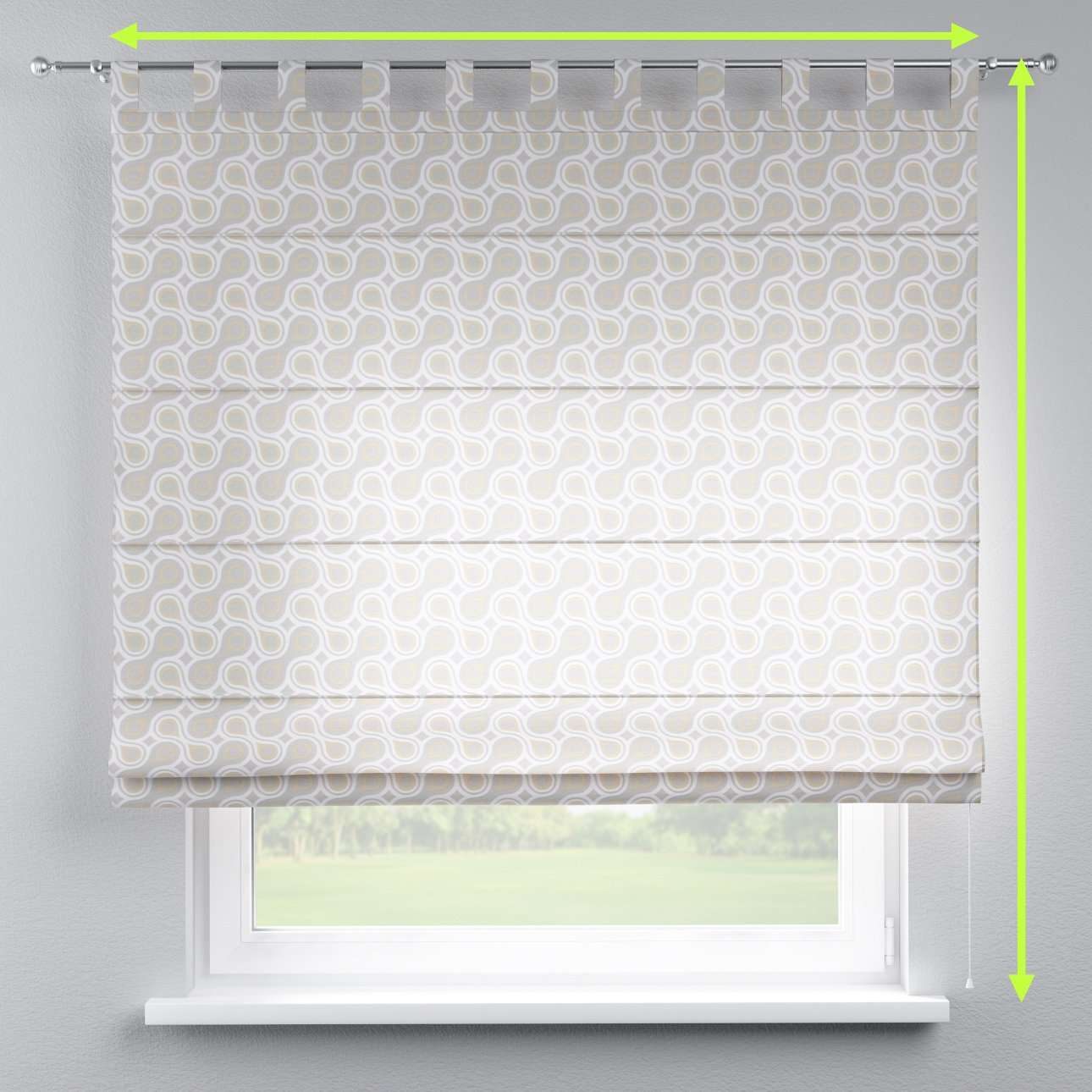 Verona tab top roman blind in collection Flowers, fabric: 311-11