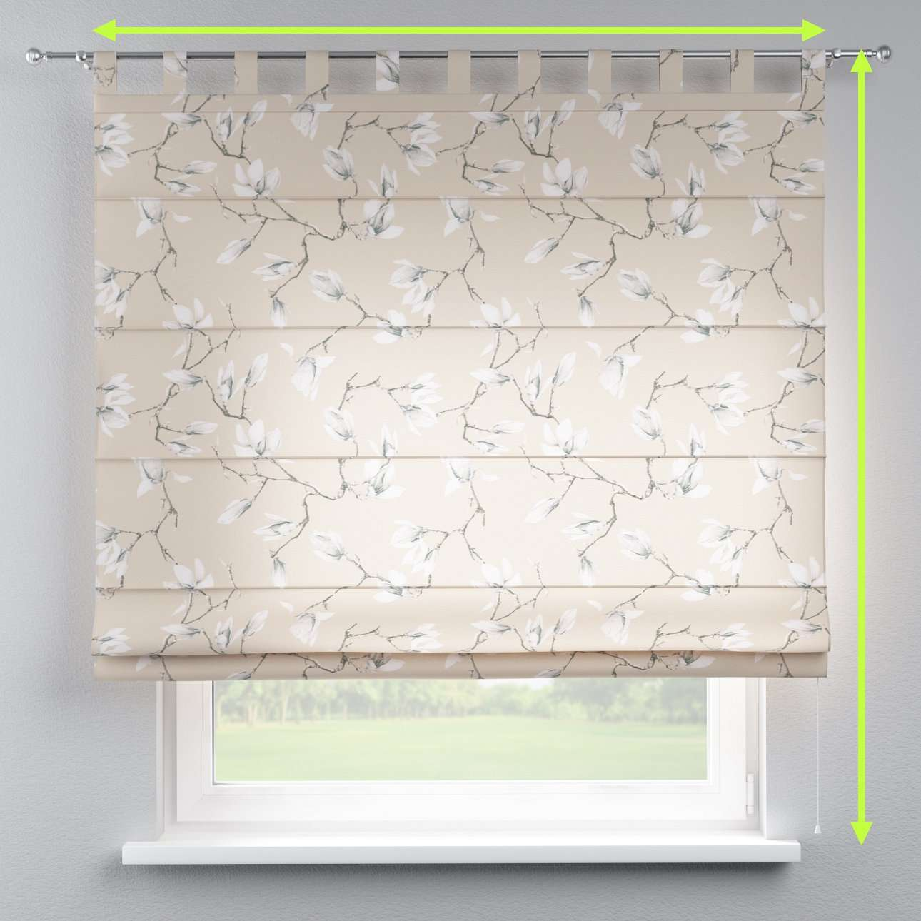 Verona tab top roman blind in collection Flowers, fabric: 311-12