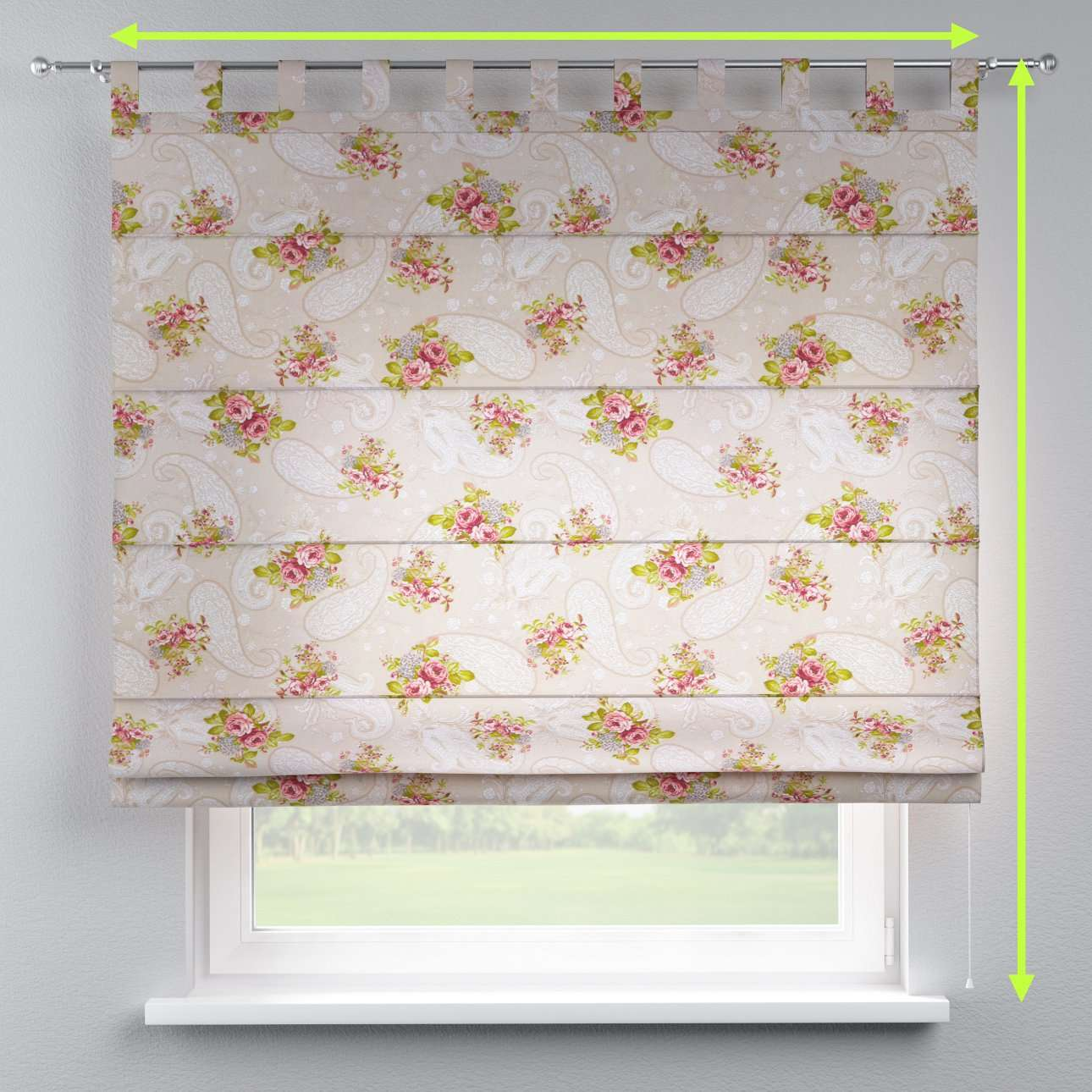 Verona tab top roman blind in collection Flowers, fabric: 311-15