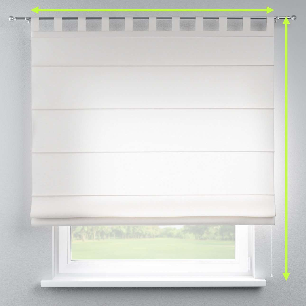 Verona tab top roman blind in collection Linen, fabric: 392-04