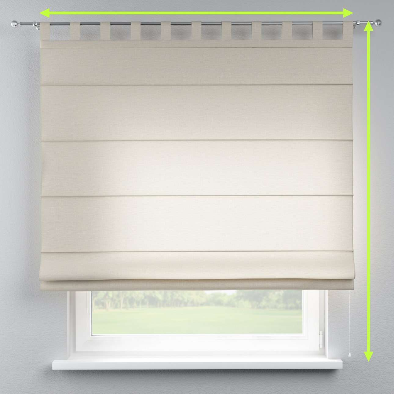 Verona tab top roman blind in collection Linen , fabric: 392-05