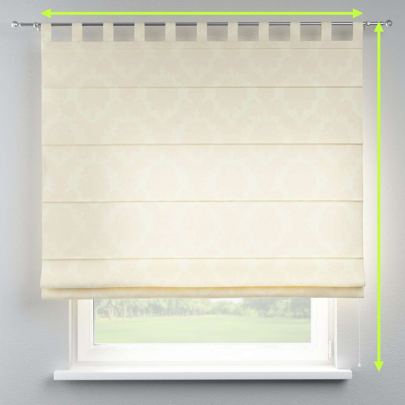 Verona tab top roman blind in collection Damasco, fabric: 613-01