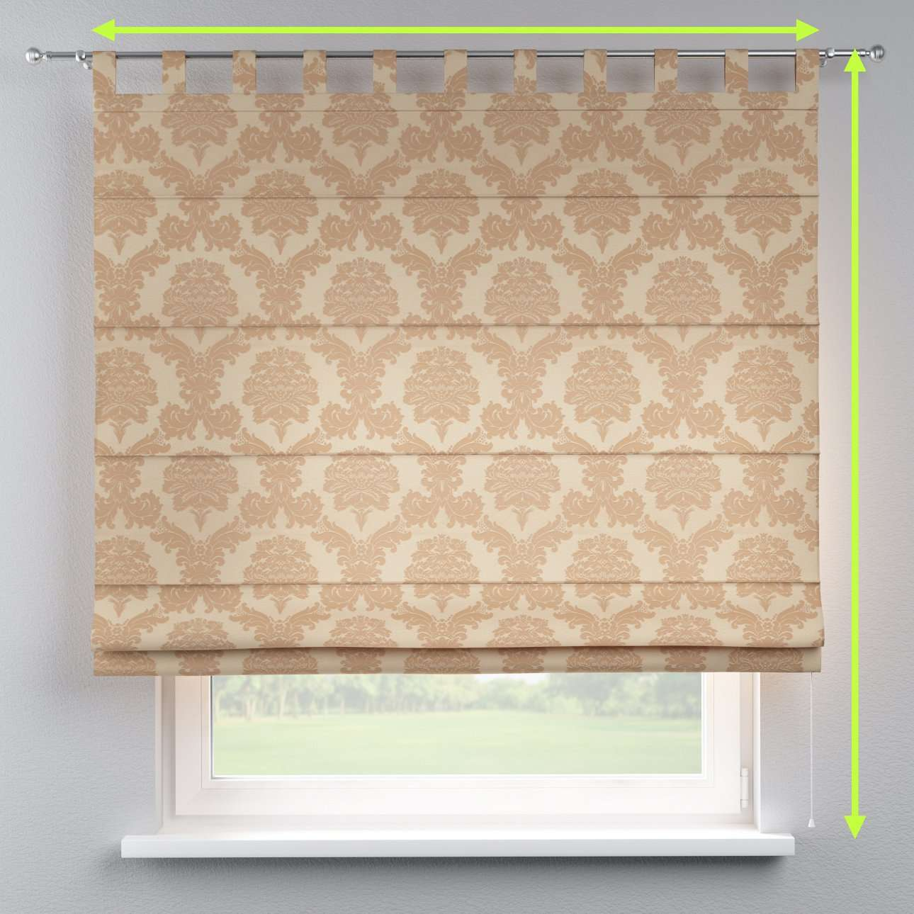 Verona tab top roman blind in collection Damasco, fabric: 613-04