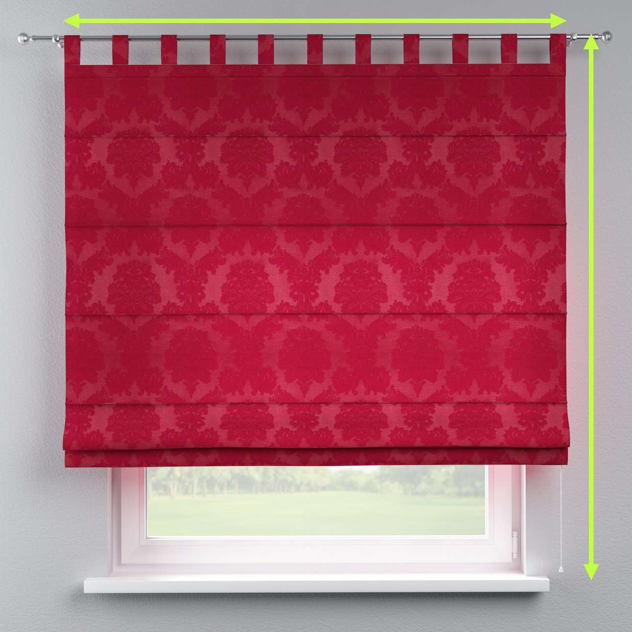 Verona tab top roman blind in collection Damasco, fabric: 613-13