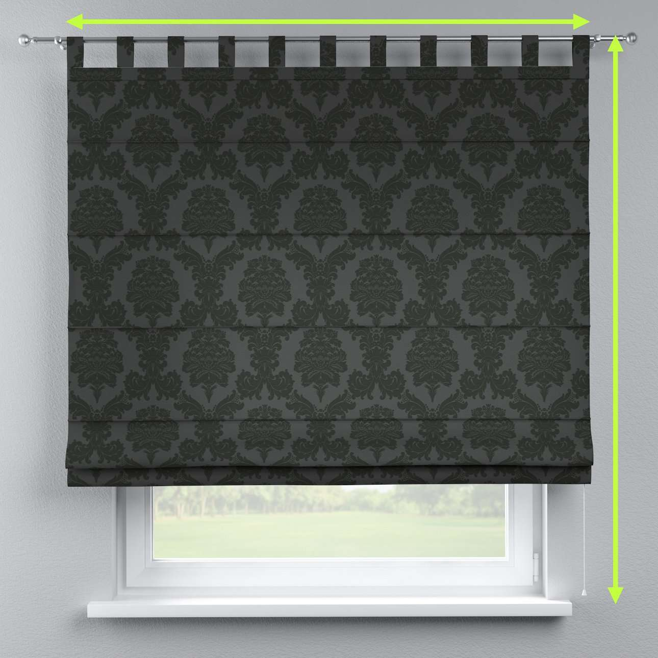 Verona tab top roman blind in collection Damasco, fabric: 613-32