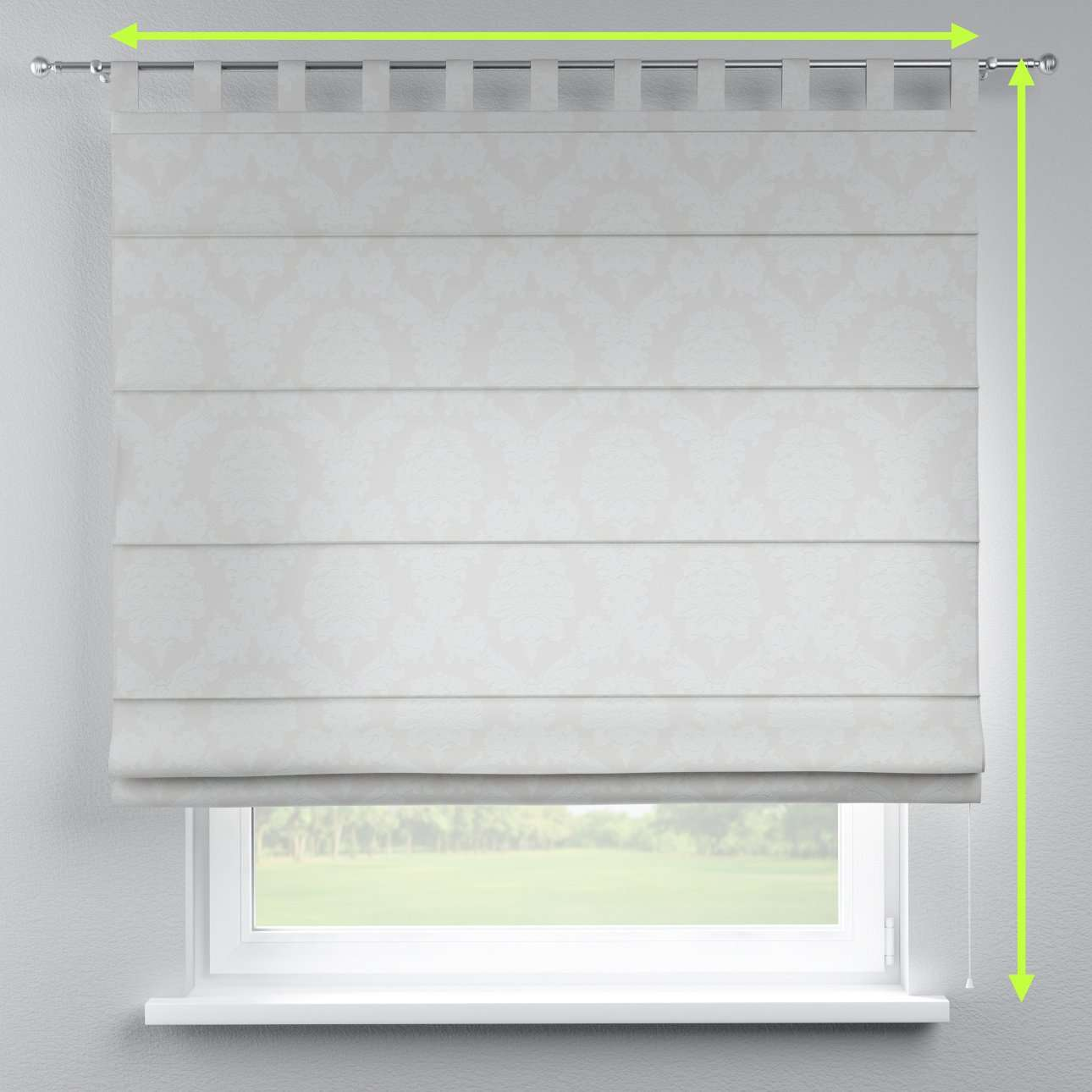 Verona tab top roman blind in collection Damasco, fabric: 613-81