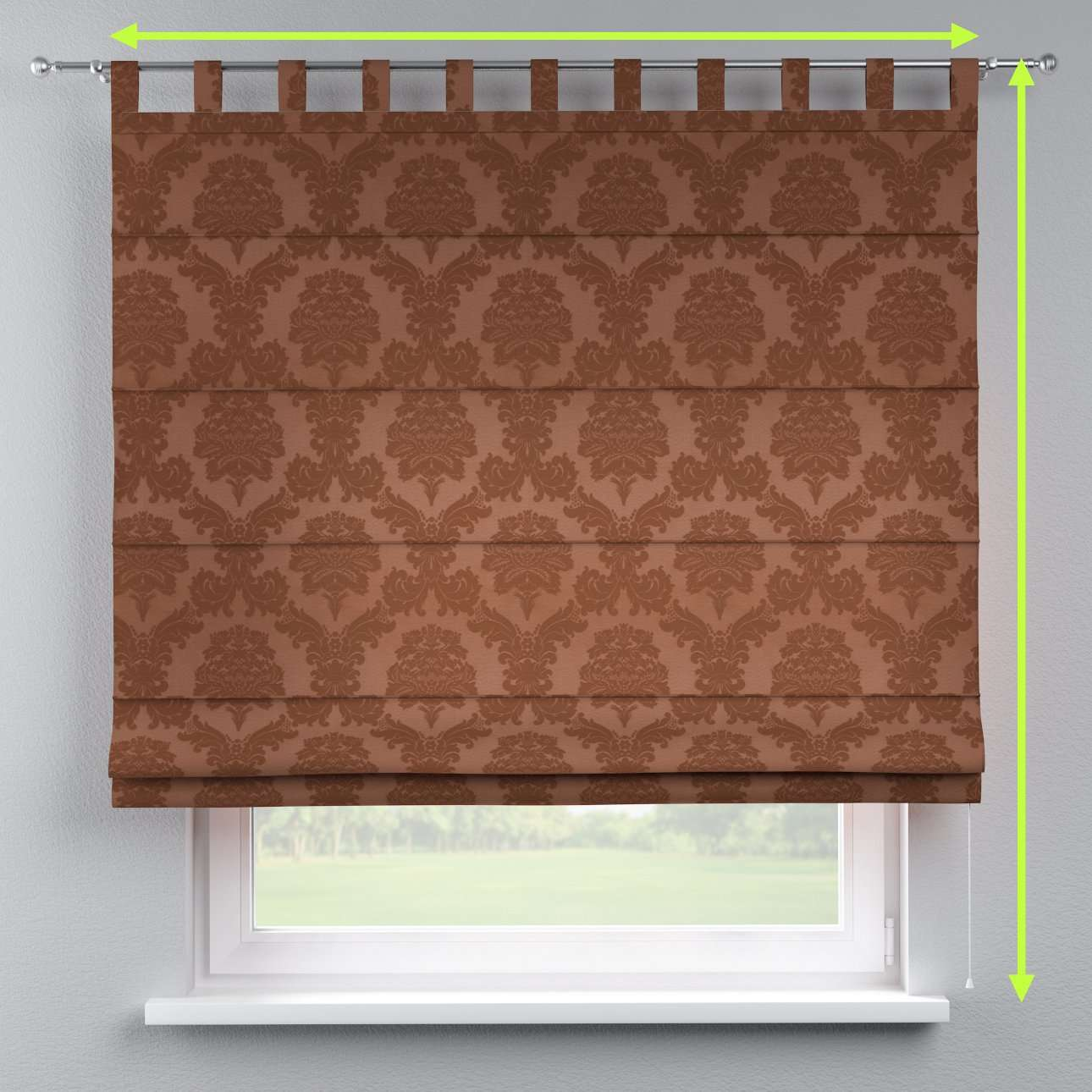 Verona tab top roman blind in collection Damasco, fabric: 613-88