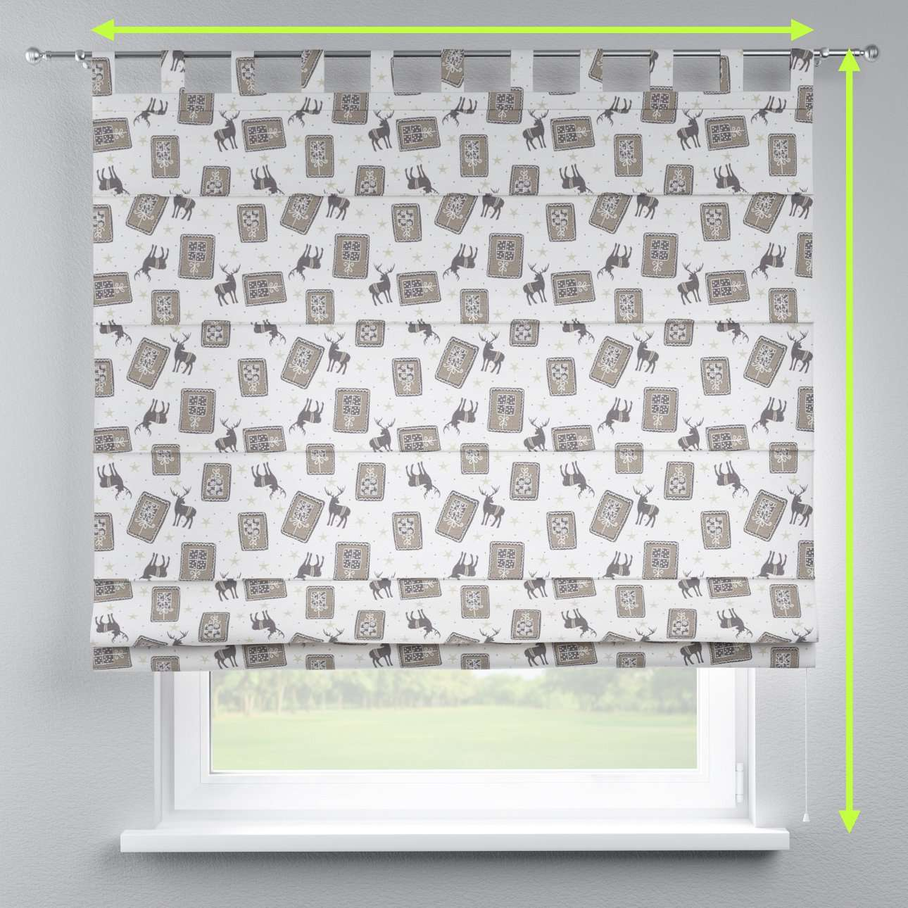 Verona tab top roman blind in collection Nordic, fabric: 630-10