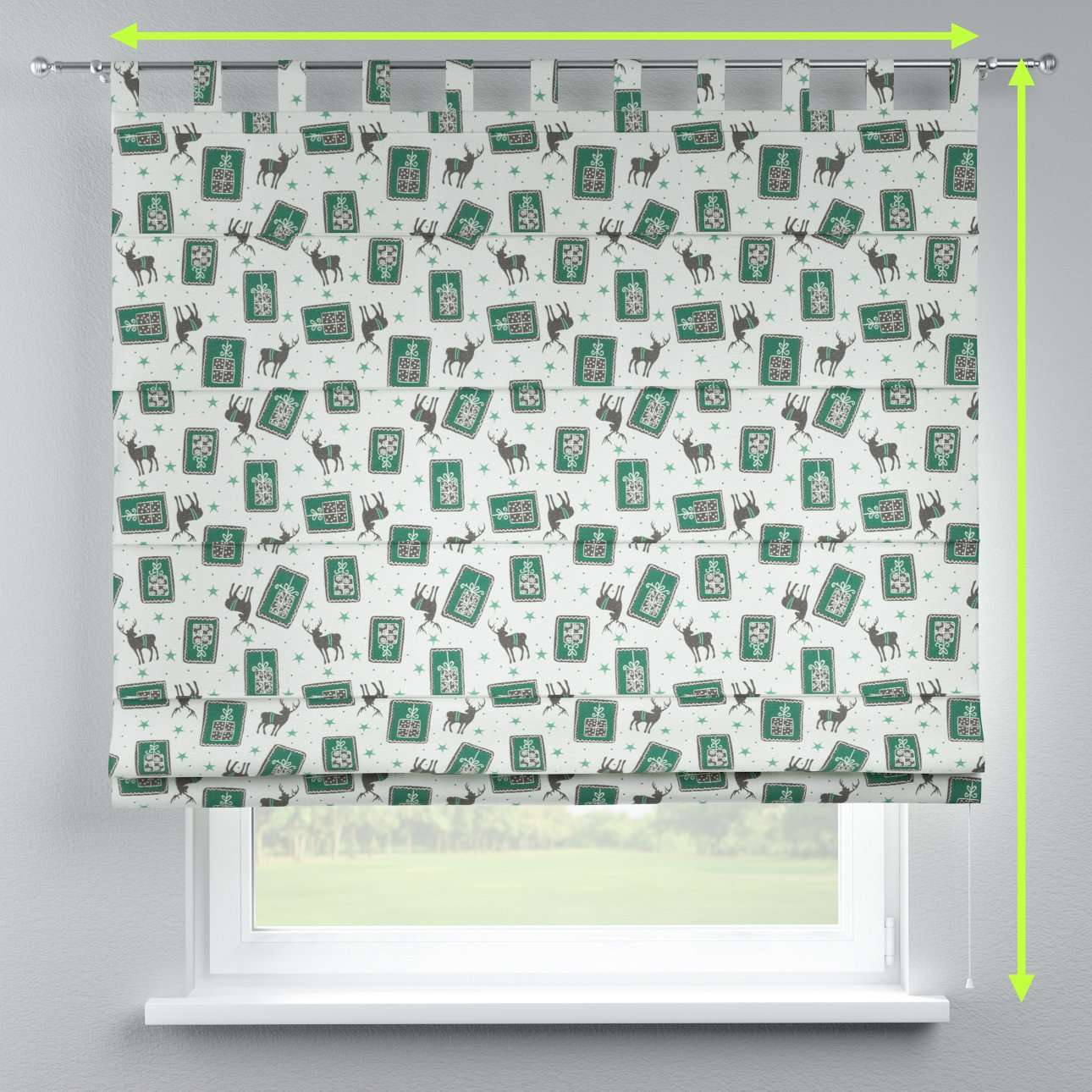 Verona tab top roman blind in collection Nordic, fabric: 630-13